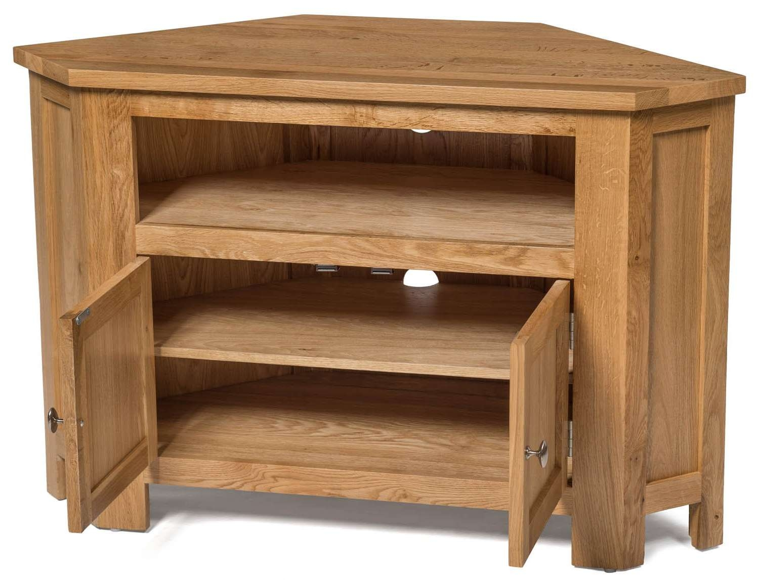 Waverly Oak 2 Door Corner Tv Stand Unit | Hallowood Intended For Oak Corner Tv Cabinets (View 15 of 20)