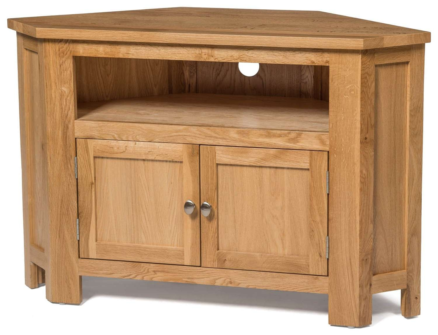 Waverly Oak 2 Door Corner Tv Stand Unit | Hallowood Pertaining To Real Wood Corner Tv Stands (View 15 of 15)