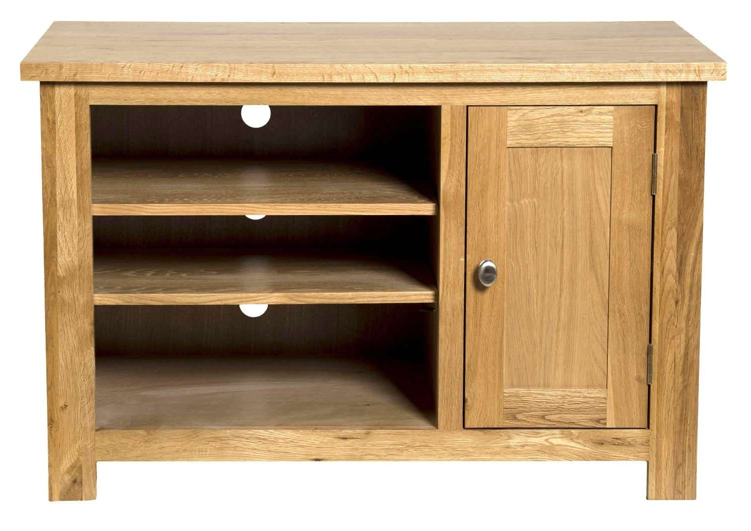 Waverly Oak Small Compact Tv Stand With Cabinet Storage | Hallowood In Small Oak Tv Cabinets (View 18 of 20)