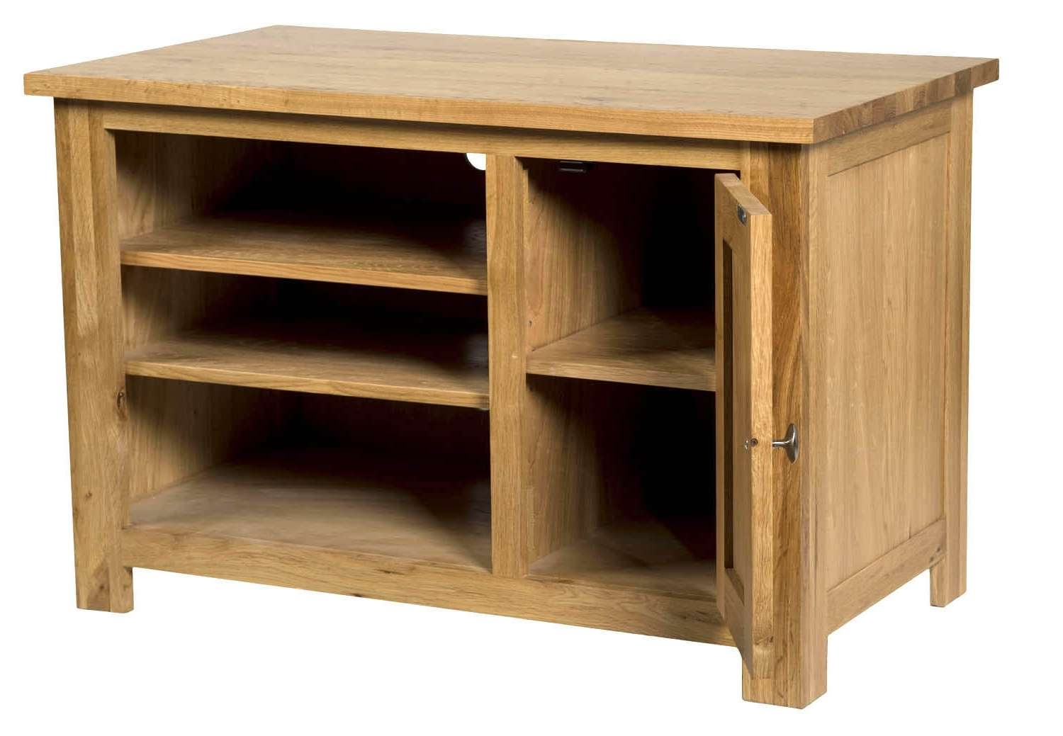Waverly Oak Small Compact Tv Stand With Cabinet Storage | Hallowood Pertaining To Small Oak Tv Cabinets (View 20 of 20)