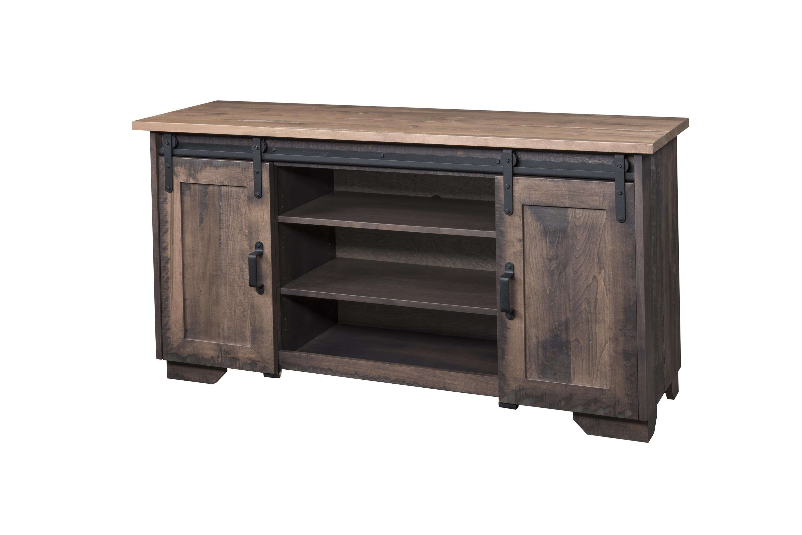 "Wayside Custom Furniture Solid Wood Tv Stands 62"" Barn Door Tv With Wood Tv Stands (View 15 of 15)"