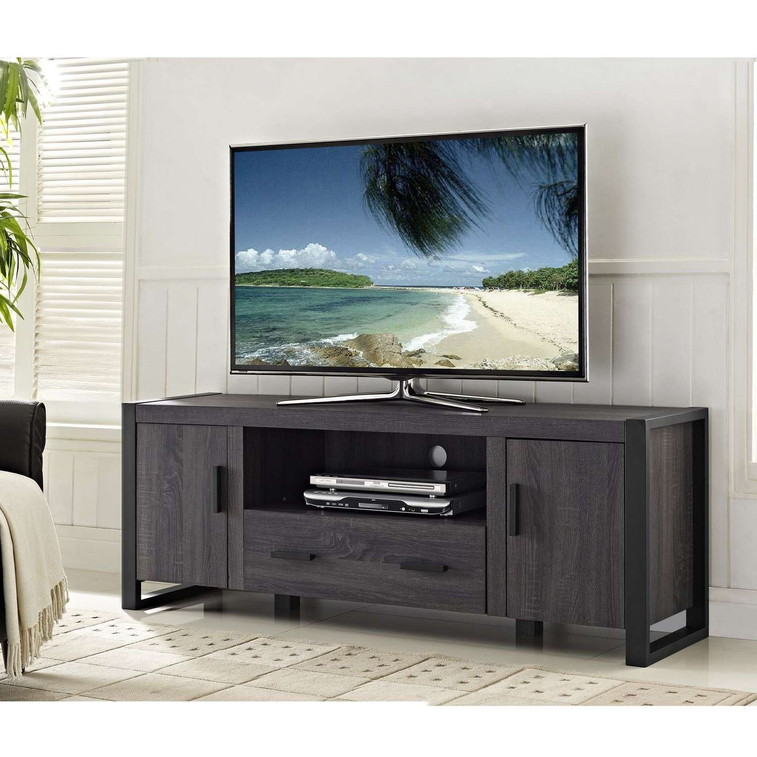 "We Furniture 60"" Grey Wood Tv Stand Console 