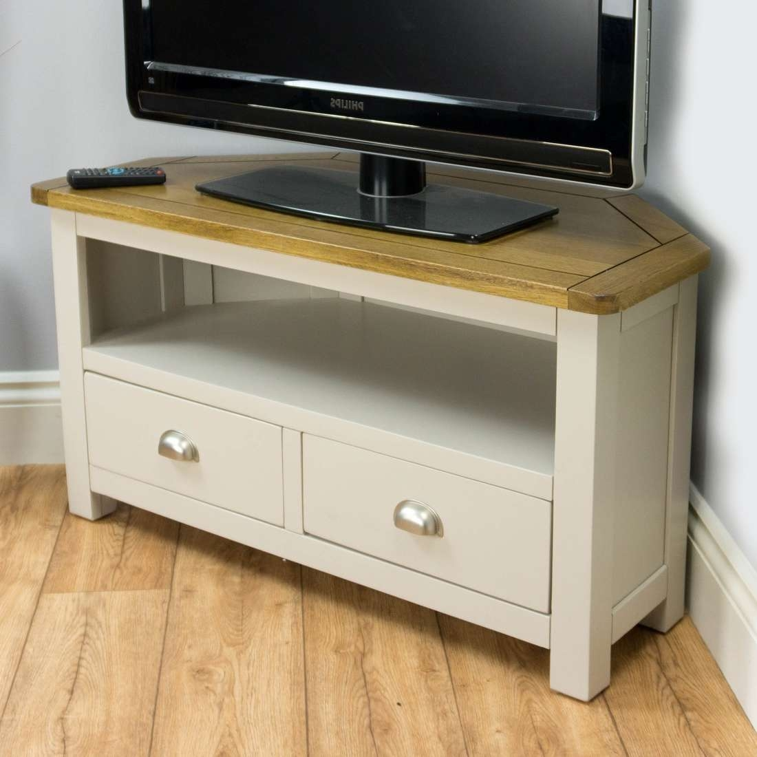 Wellington Oak Corner Tv Unit / Painted Tv Stand / Grey With Solid With Regard To Grey Corner Tv Stands (View 9 of 20)