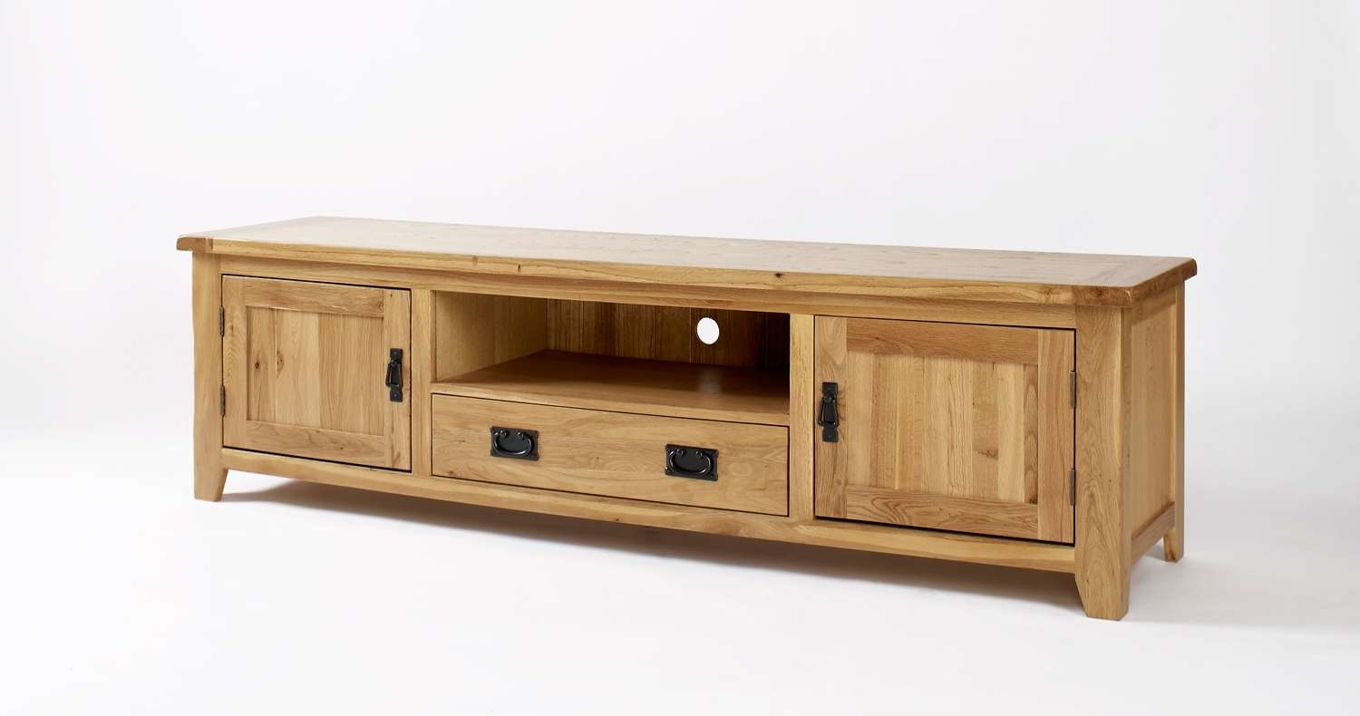 Westbury Reclaimed Oak Widescreen Tv Cabinet | Oak Furniture Solutions Inside Hard Wood Tv Stands (View 15 of 15)