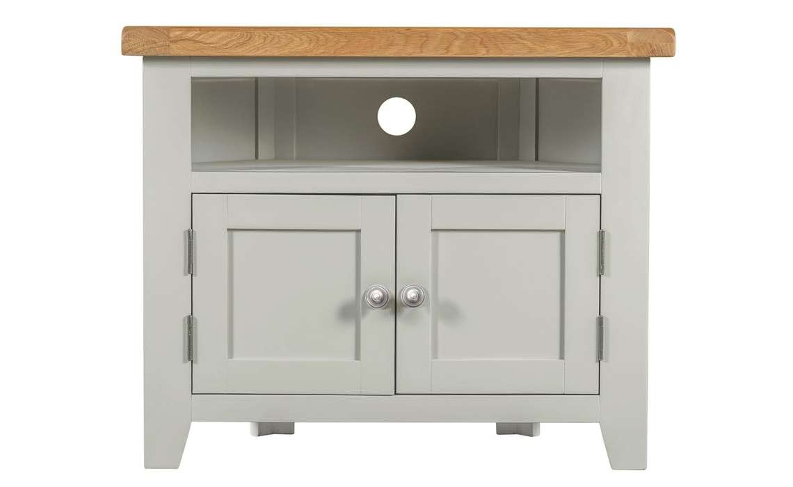 Wexford Grey Corner Tv Unit With Solid Doors , Painted Hardwood Within Painted Corner Tv Cabinets (View 11 of 20)