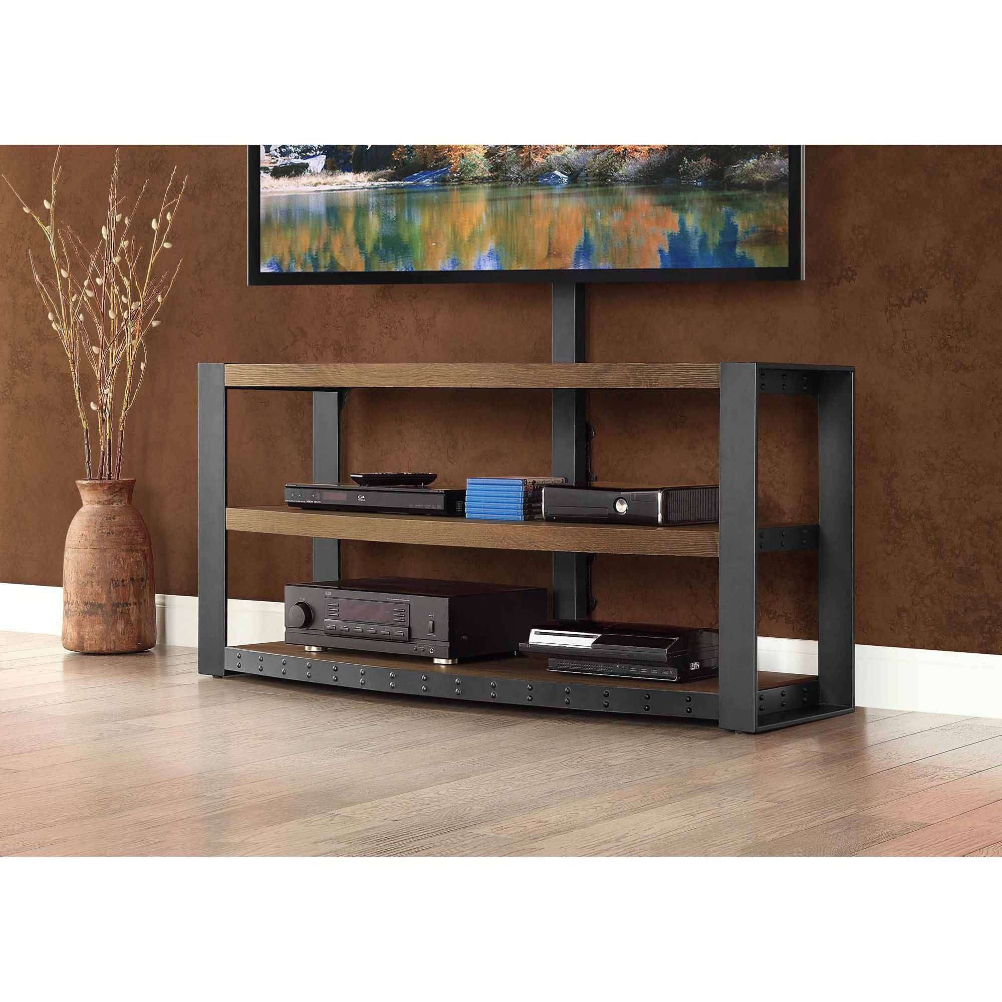 "Whalen Santa Fe 3 In 1 Tv Stand For Tvs Up To 65"", Warm Ash Finish Regarding Brown Tv Stands (View 19 of 20)"