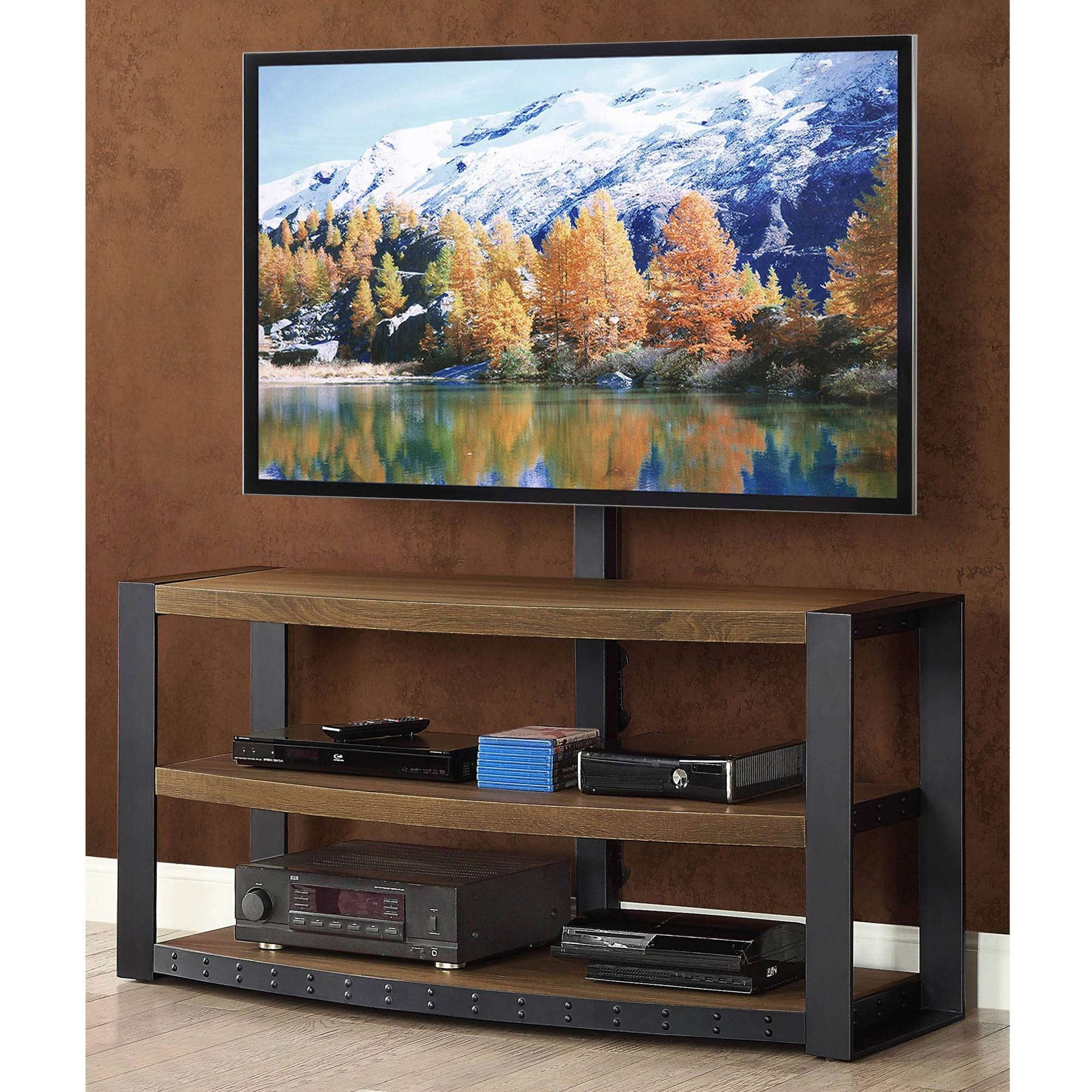 """Whalen Santa Fe 3 In 1 Tv Stand For Tvs Up To 65"""", Warm Ash Finish Within Wood Tv Stands With Swivel Mount (View 13 of 15)"""