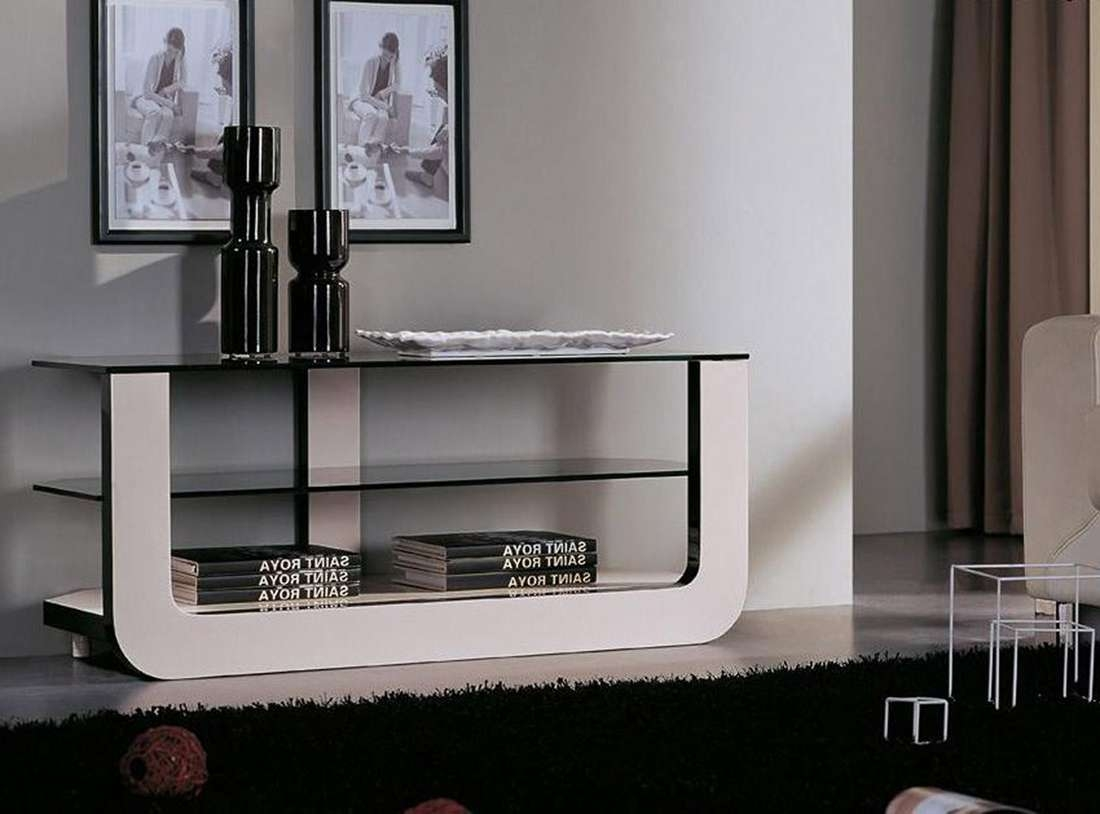 White Acrylic Tv Stand With Black Glass Top And Shelves On The With Acrylic Tv Stands (View 15 of 15)