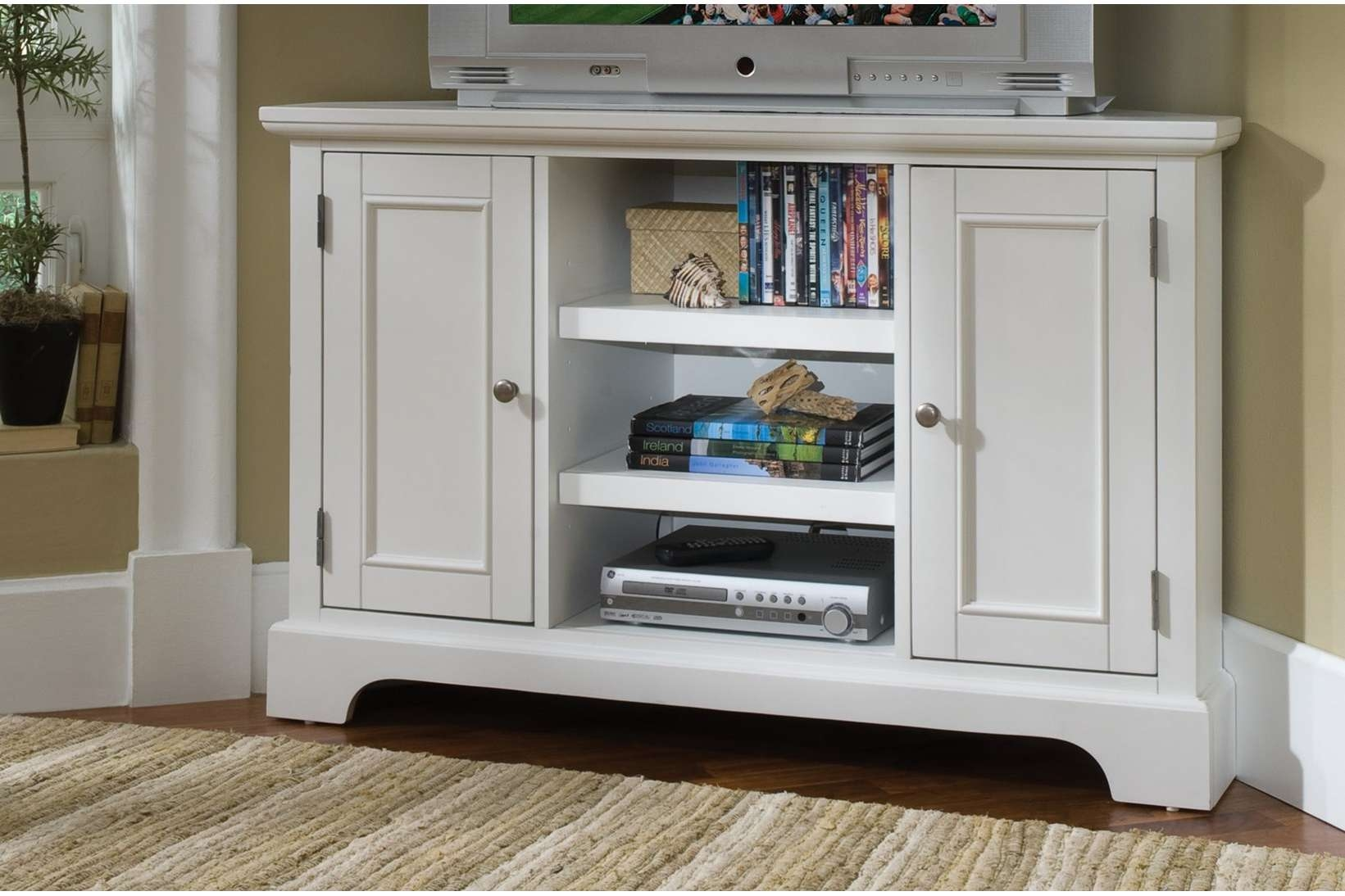 White Corner Tv Cabinet With 2 Doors On Both Sides And 3 Open Inside White Wood Corner Tv Stands (View 9 of 15)