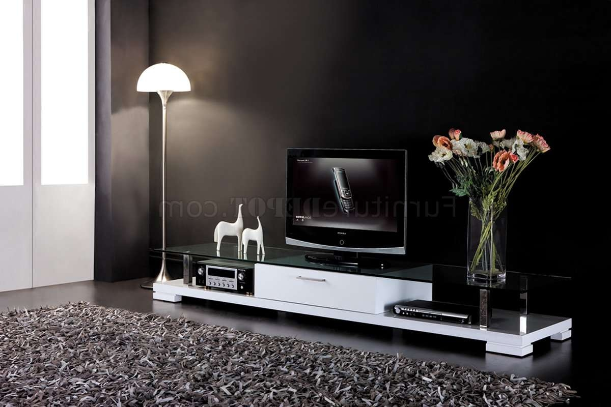 White Finish Modern Tv Stand W/drawer & Clear Glass Top Throughout Wood Tv Stands With Glass Top (View 14 of 15)
