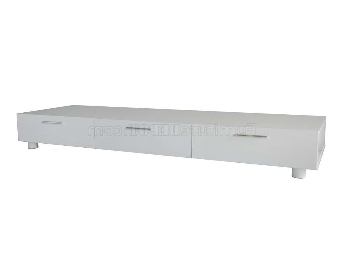 White Finish Modern Tv Stand W/three Drawers With Regard To White Contemporary Tv Stands (View 14 of 15)