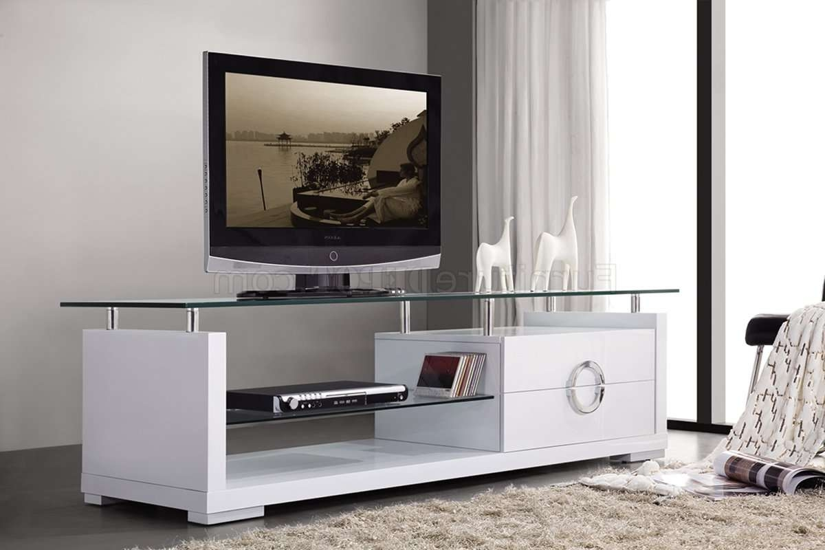 White Finish Modern Tv Stand W/two Drawers & Glass Top With Regard To Wood Tv Stands With Glass Top (View 15 of 15)