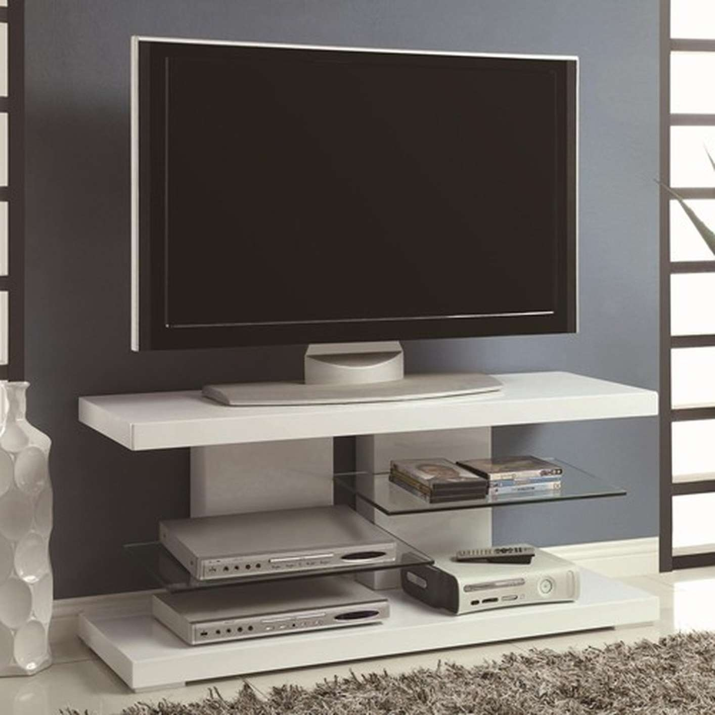 White Glass Tv Stand – Steal A Sofa Furniture Outlet Los Angeles Ca With Glossy White Tv Stands (View 6 of 15)