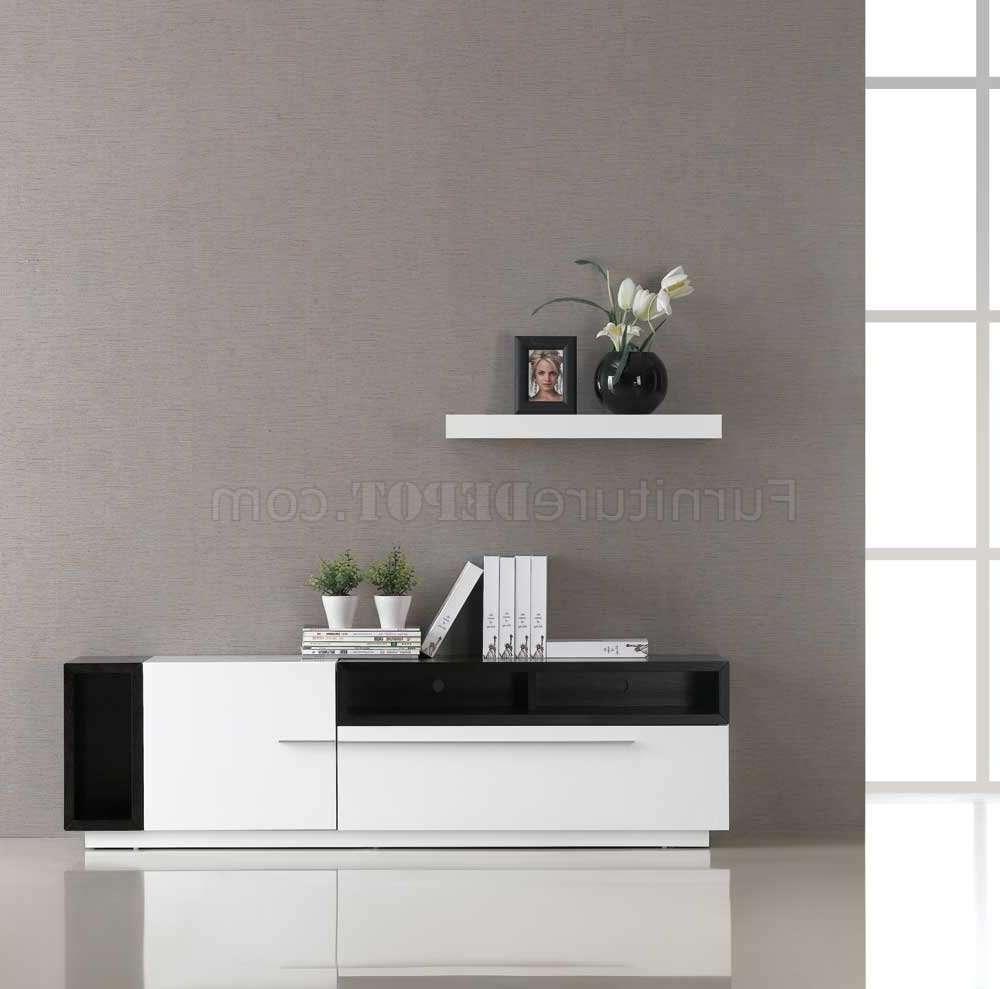 White Gloss & Dark Oak Two Tone Finish Modern Tv Stand Regarding Modern White Gloss Tv Stands (View 14 of 20)