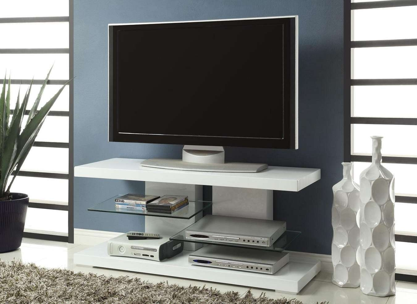 White Glossy Finished Wooden Tv Stand With Two Glass Shelves Intended For Wood And Glass Tv Stands For Flat Screens (View 12 of 20)