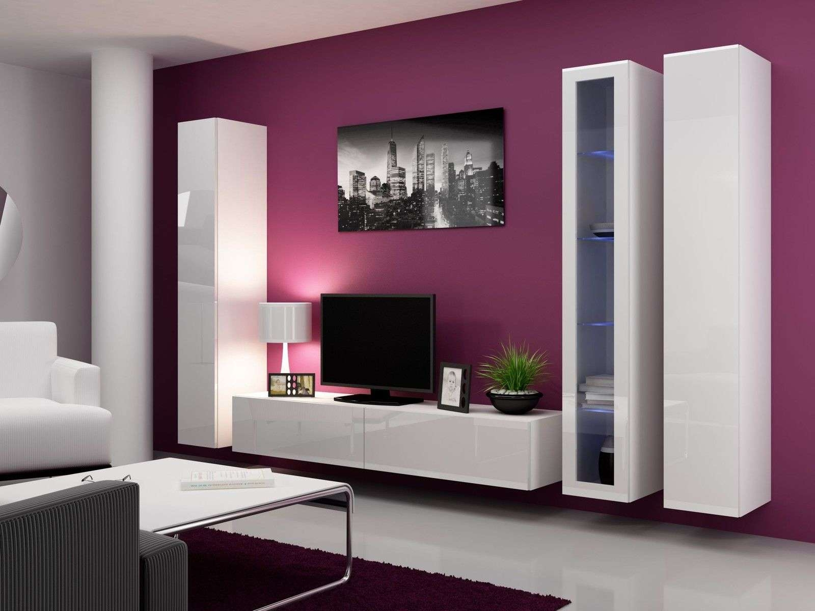 White Glossy Wooden Wall Tv Cabinet With Double Door Panel With Wall Display Units And Tv Cabinets (View 18 of 20)