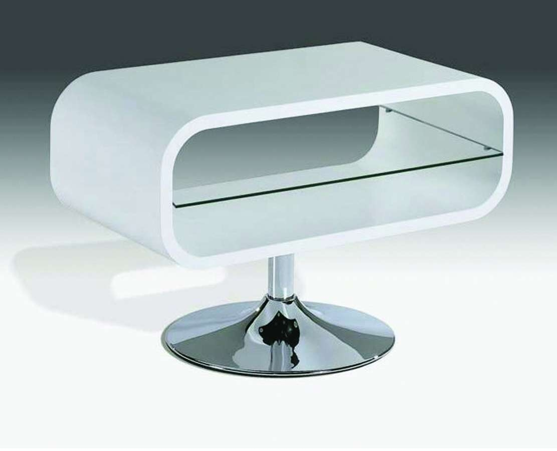 White High Gloss Tv Unit Stand With Glass Shelf – Homegenies Intended For White Gloss Tv Cabinets (View 12 of 20)
