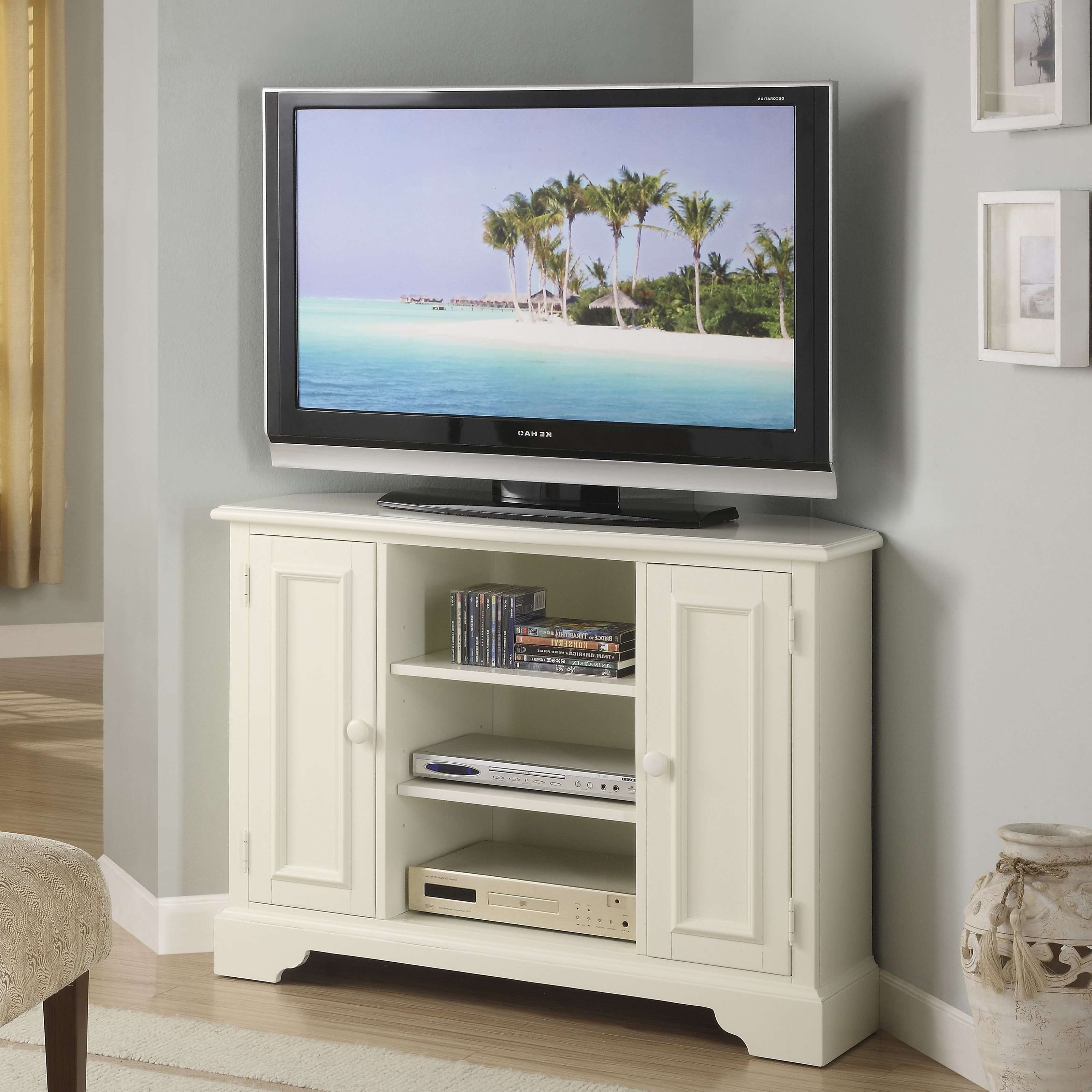 White Painted Mahogany Wood Corner Tv Stand With Classic Swing Regarding White Tall Tv Stands (View 15 of 15)