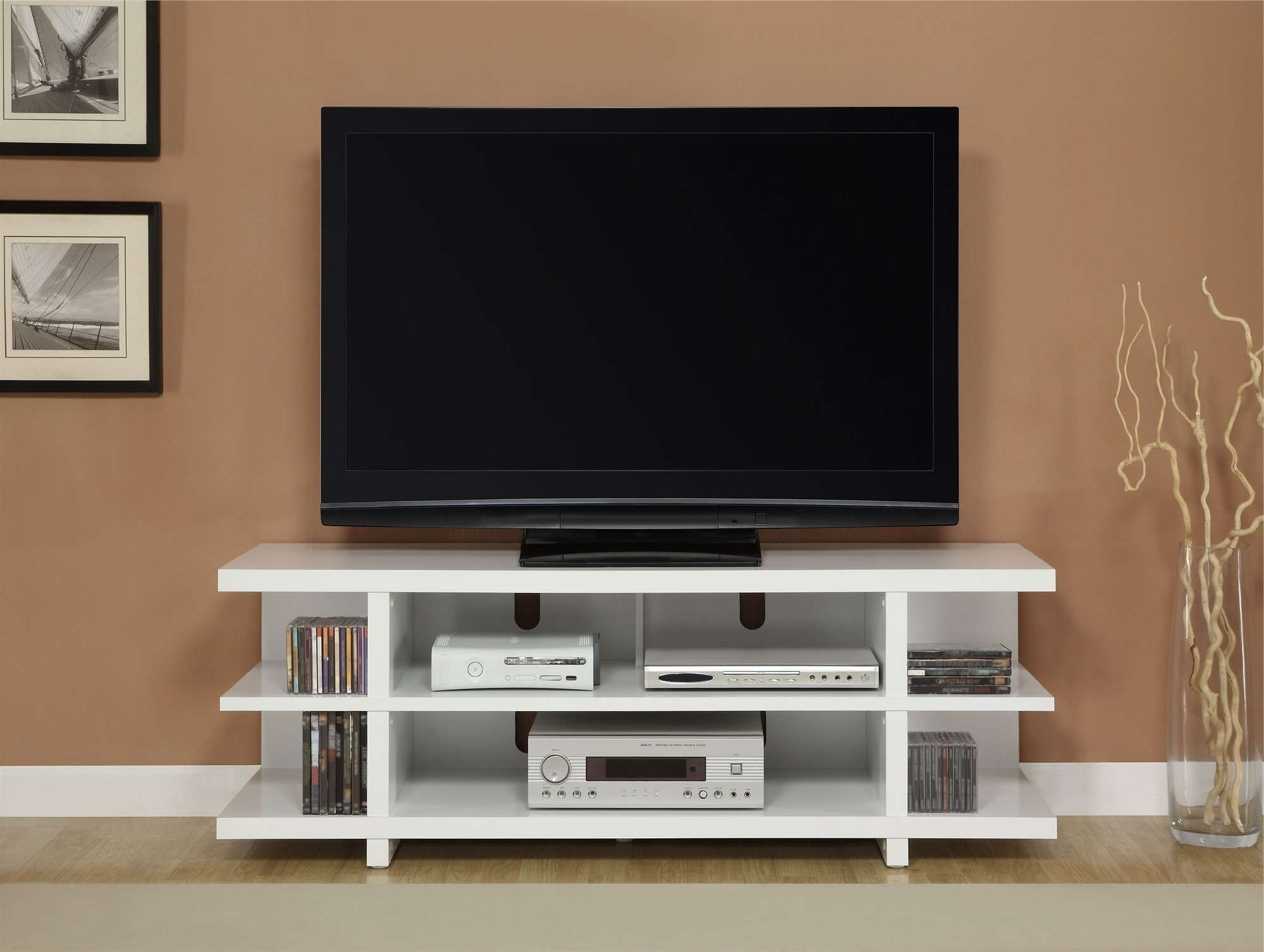 White Stained Wooden Tv Stand Having Several Open Shelves For Throughout Modern Tv Stands For Flat Screens (View 3 of 15)