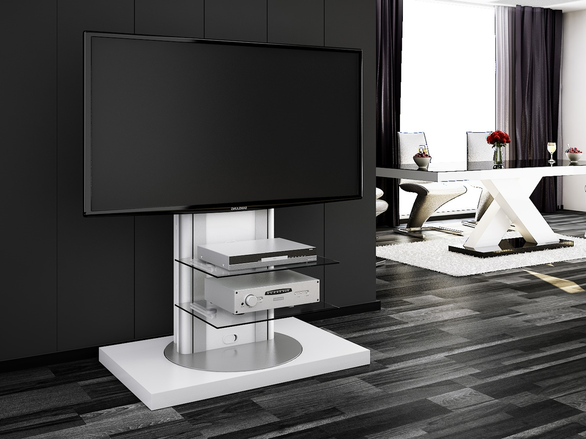 White Swivel High Gloss Tv Stand   Modern Tv Stands Pertaining To Tv Stands Swivel Mount (View 15 of 15)