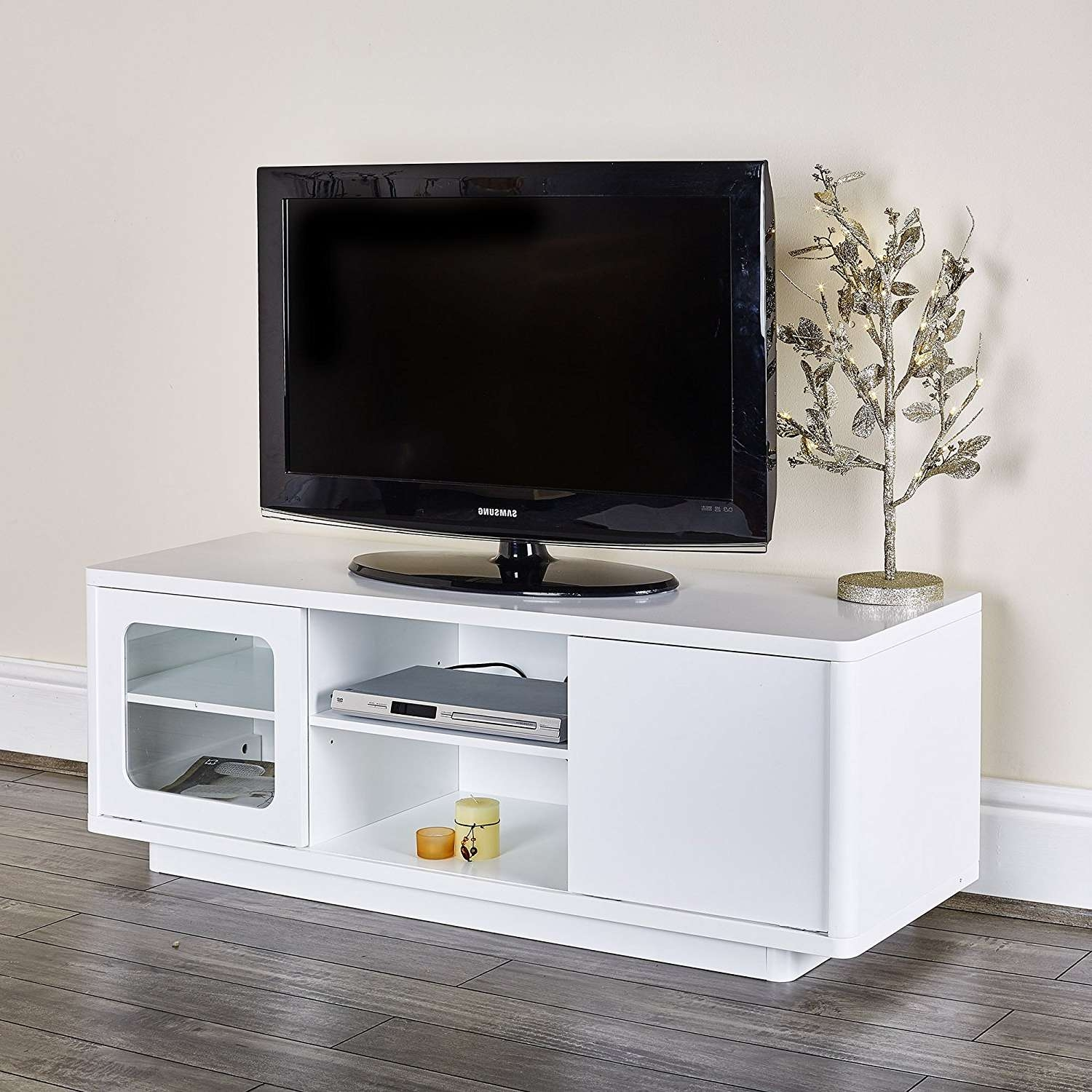 White Tv Cabinet Modern High Gloss Tv Table 2 Drawers Clear Glass Inside White Gloss Tv Stands With Drawers (View 7 of 15)