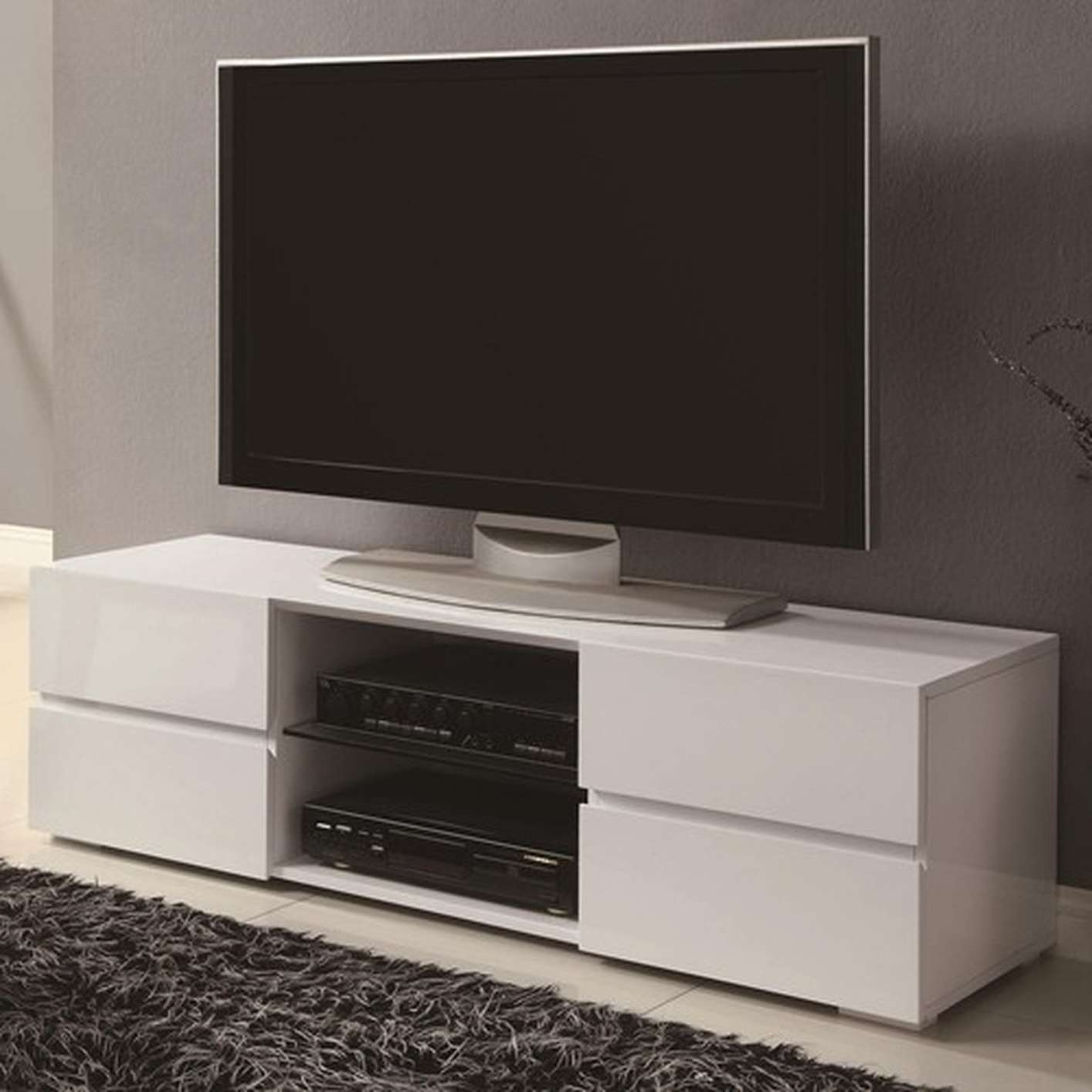 White Wood Tv Stand – Steal A Sofa Furniture Outlet Los Angeles Ca With Glossy White Tv Stands (View 11 of 15)