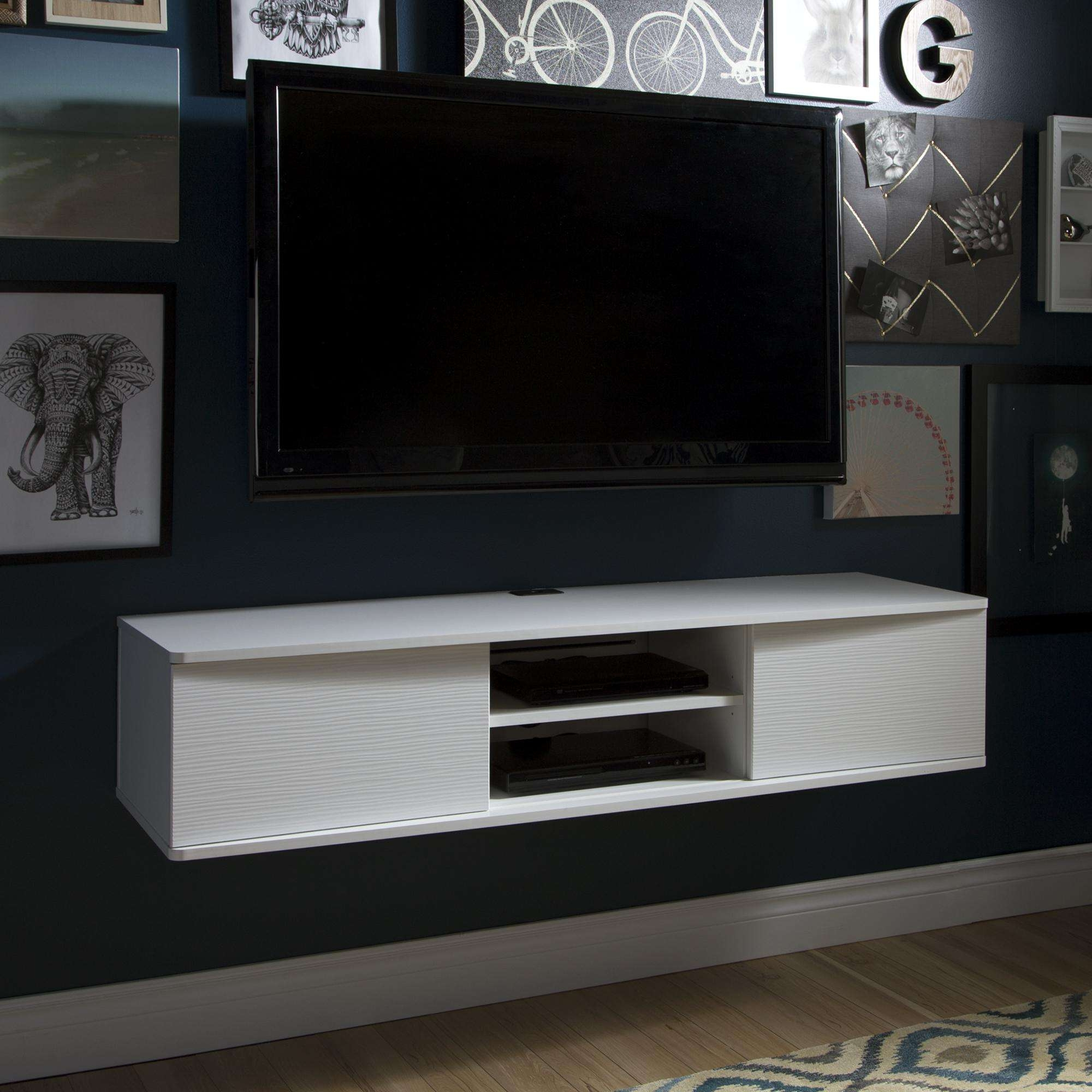White Wooden Floating Media Cabinet With Shelf Hanging On Grey With Regard To White Wall Mounted Tv Stands (View 3 of 15)