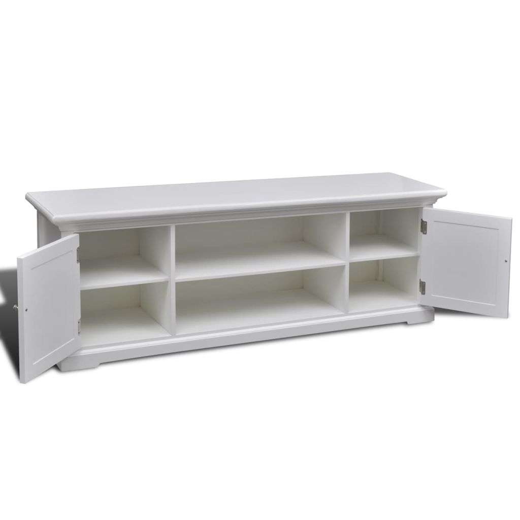 White Wooden Tv Stand | Vidaxl Throughout White Wood Tv Stands (View 8 of 15)