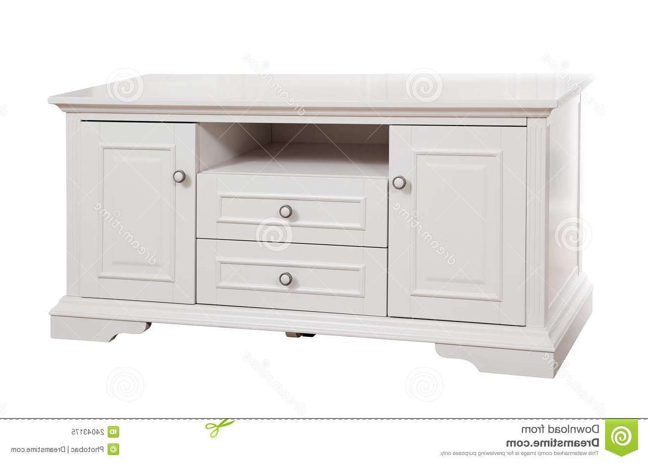 White Wooden (tv) Stand, With Clipping Path Stock Image – Image Within White Wooden Tv Stands (View 5 of 20)