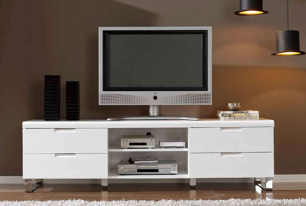 White Wooden Tv Stand With Two Shelves On The Middle Of Drawers Pertaining To Silver Tv Stands (View 15 of 15)