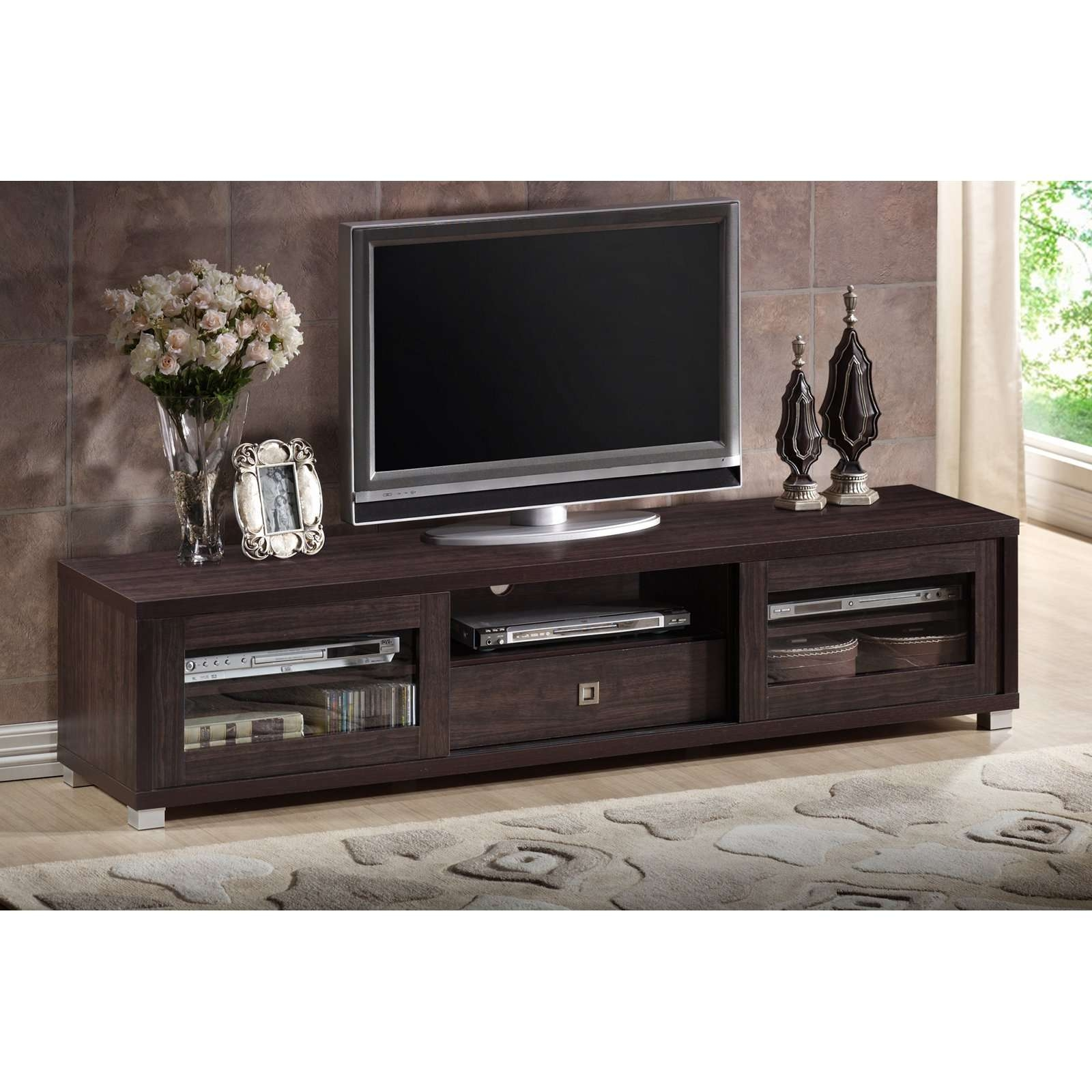 Wholesale Interiors Sculpten Dark Brown Modern Tv Stand With Glass With Regard To Brown Tv Stands (View 2 of 20)