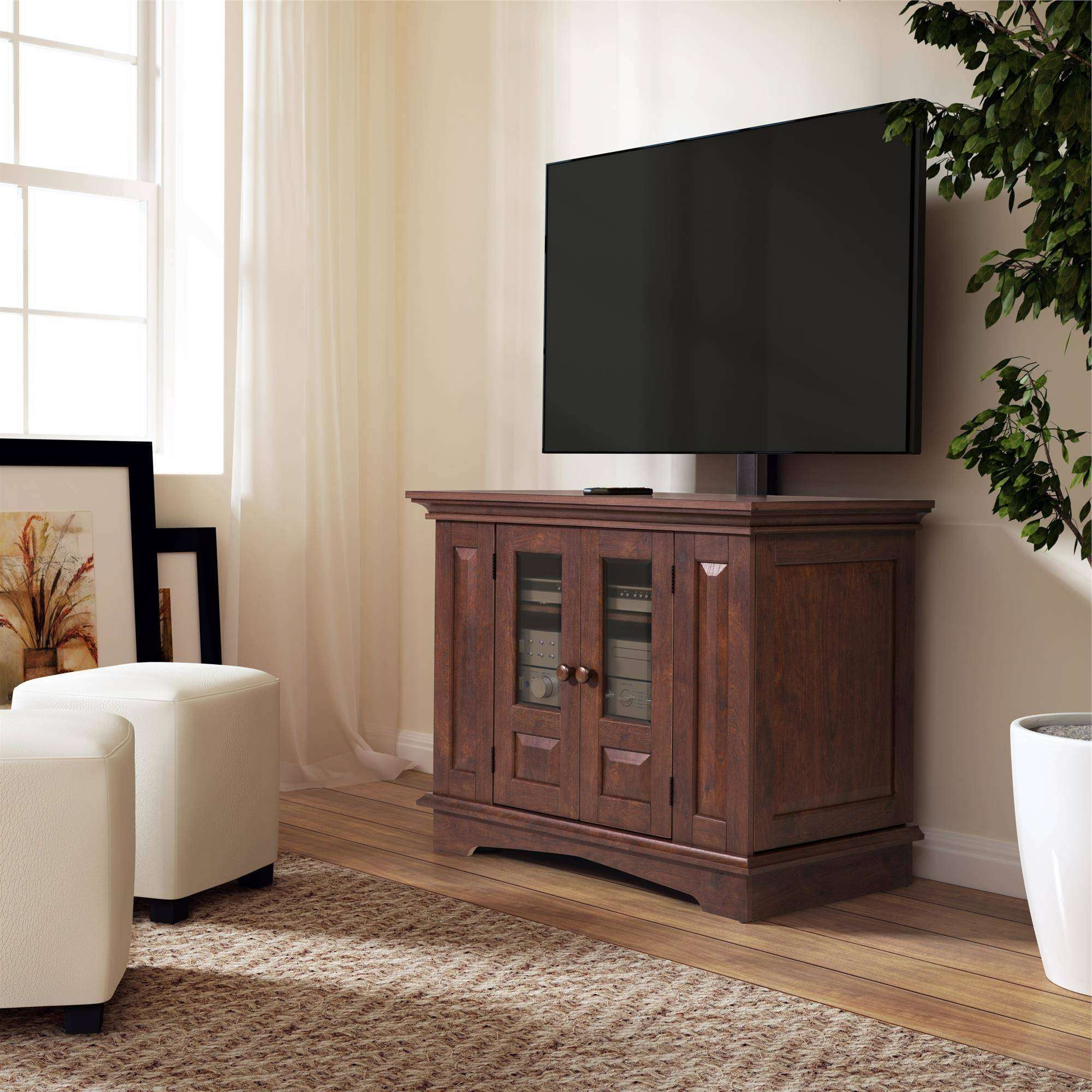 Willow Mountain Cherry Tv Stand With Mount, For Tvs Up To 37 With Wood Tv Stands With Swivel Mount (View 12 of 15)