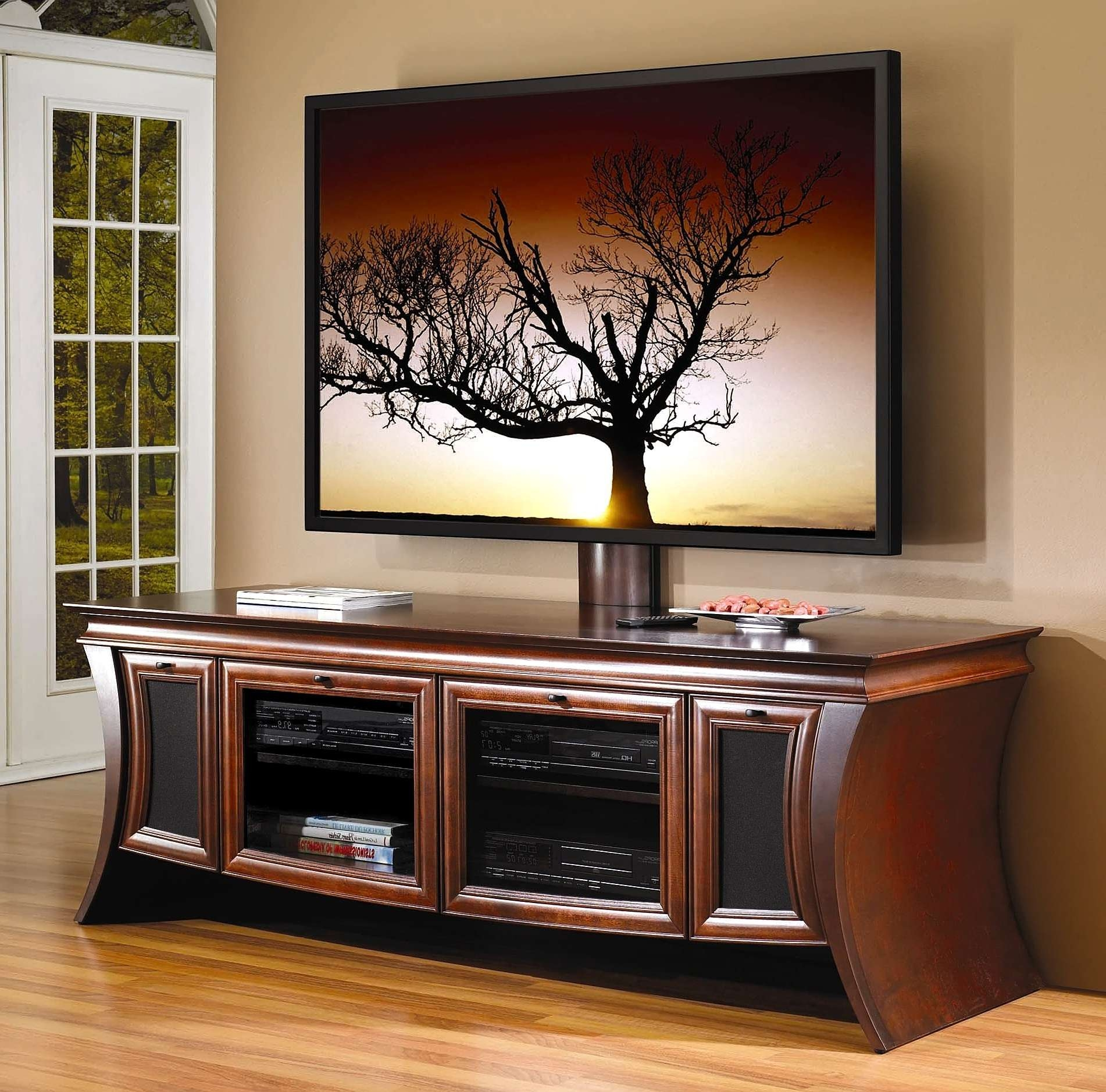 Wood Flat Screen Curved Tv Stands Photo Of Entertainment Center Within Wooden Tv Stands For 50 Inch Tv (View 14 of 15)
