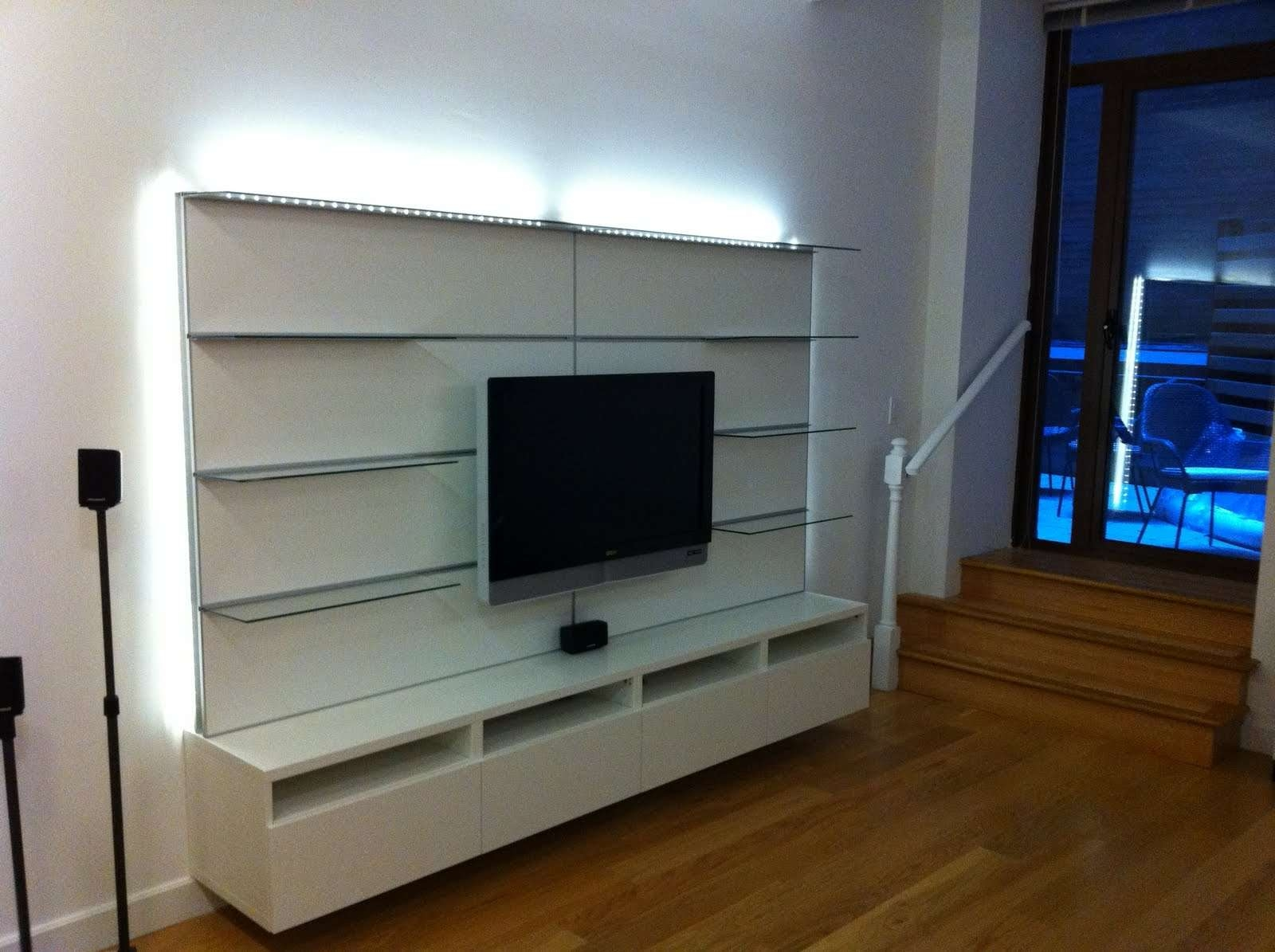 Wood Floating Media Cabinet For Tv Stand And Black Table Lamp Intended For Floating Glass Tv Stands (View 15 of 15)