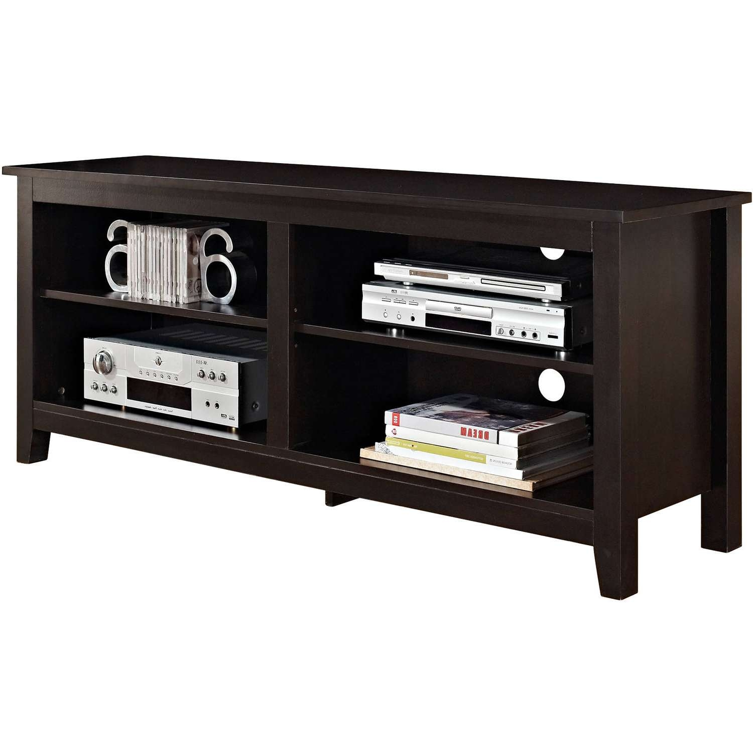"""Wood Tv Stand For Tvs Up To 60"""", Espresso – Walmart Regarding Wooden Tv Stands (View 13 of 15)"""