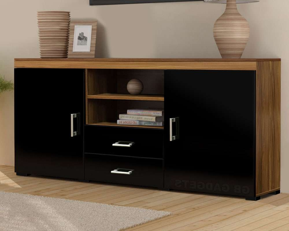 Wood Tv Stand Sideboard Tv Unit Cabinet With Drawers Shelf Glossy Inside Sideboard Tv Stands (View 19 of 20)