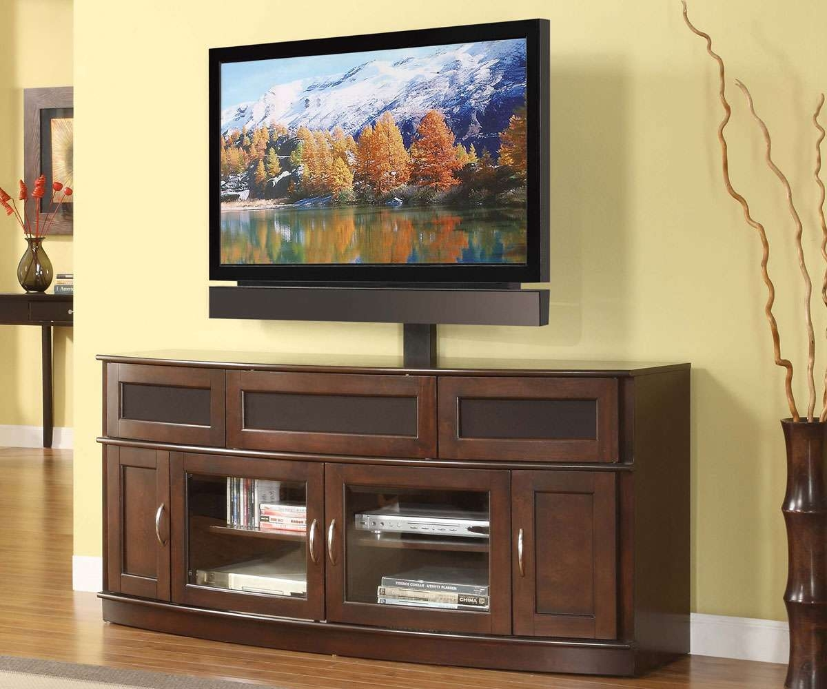 Wood Tv Stand With Glass Doors Gallery – Doors Design Ideas Throughout Long Wood Tv Stands (View 14 of 15)