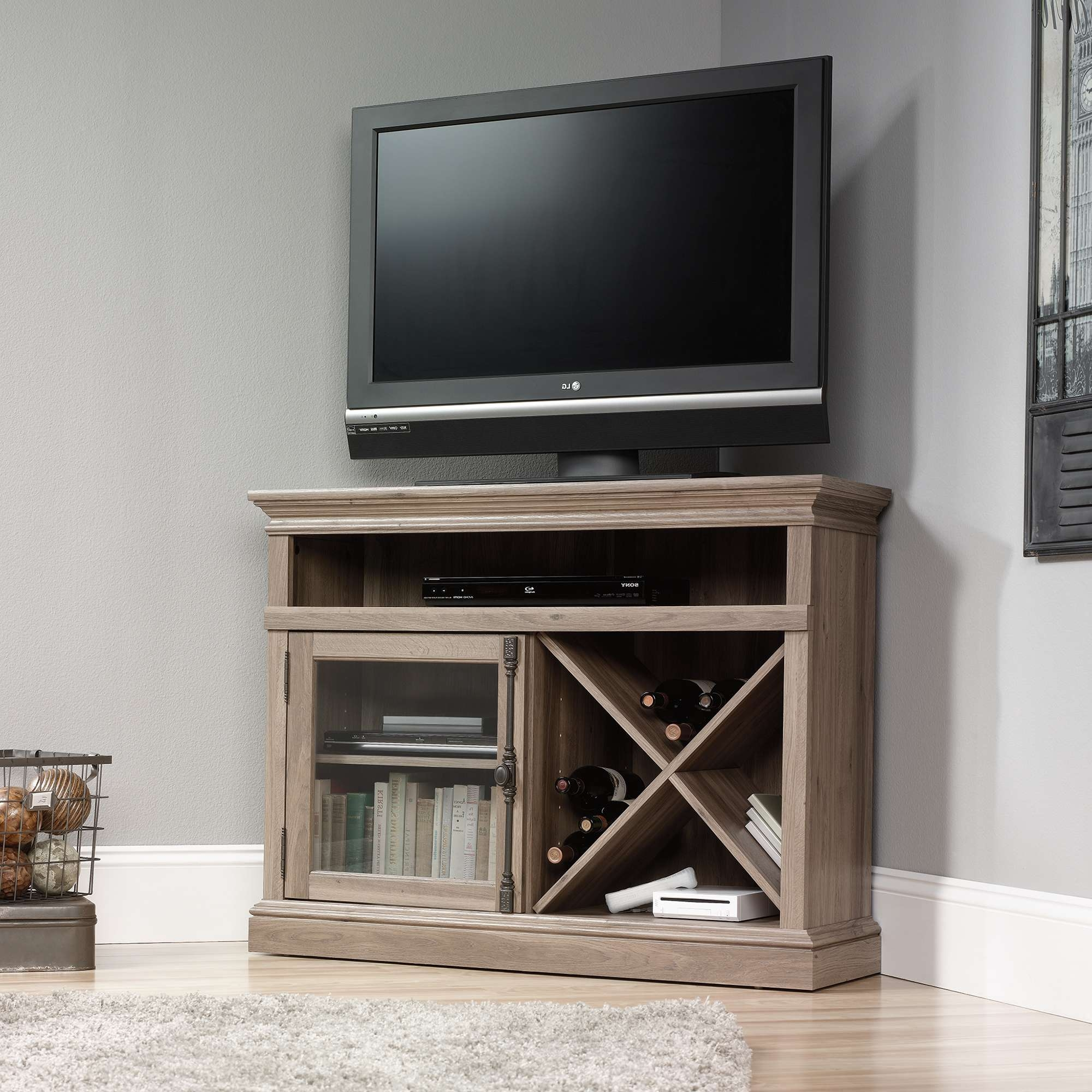 Wooden Corner Tv Stand With Single Glass Cabinet Door And Lattice With Regard To Single Shelf Tv Stands (View 20 of 20)