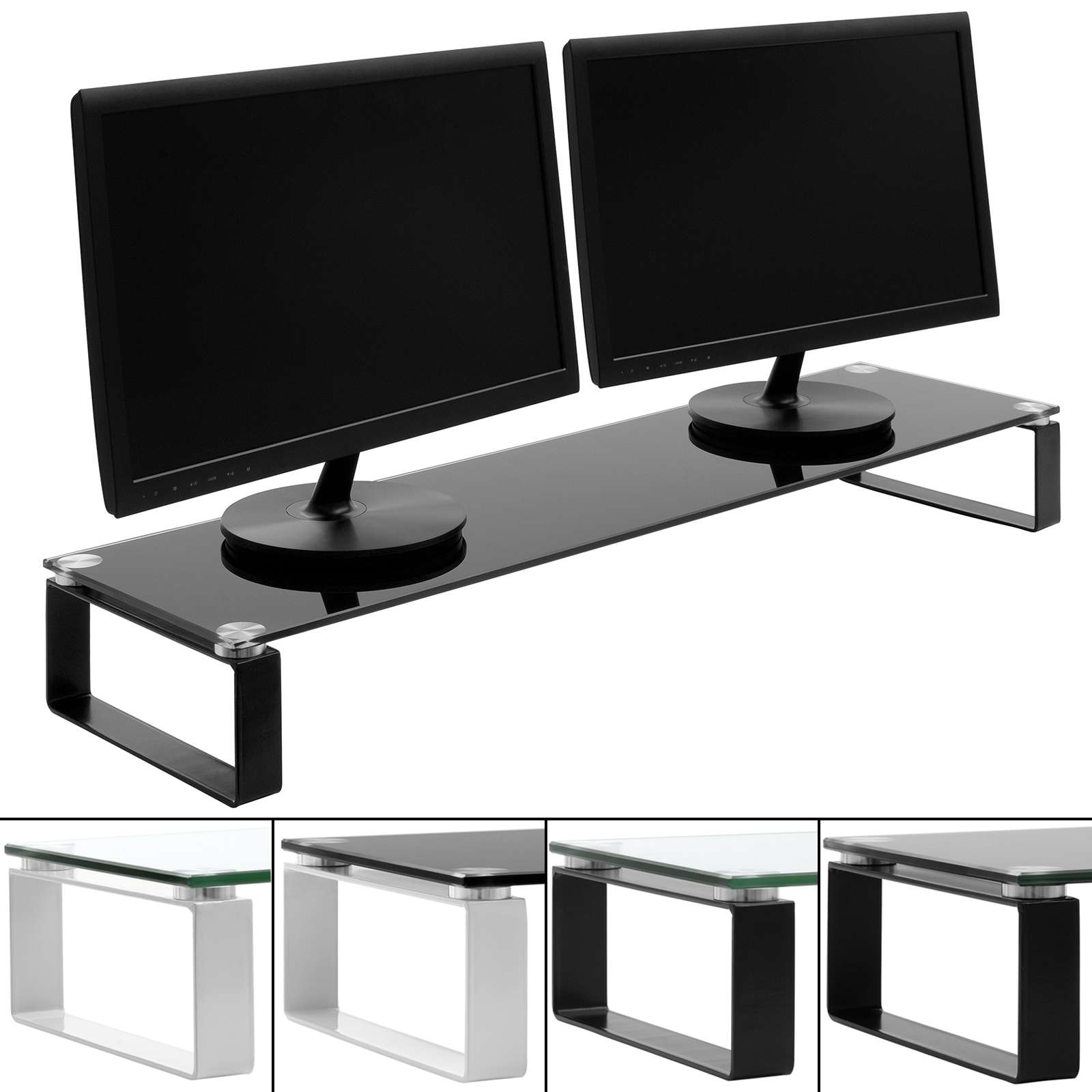 X Large Double Monitor/screen Riser Block Shelf Computer/imac Tv For Double Tv Stands (View 2 of 15)