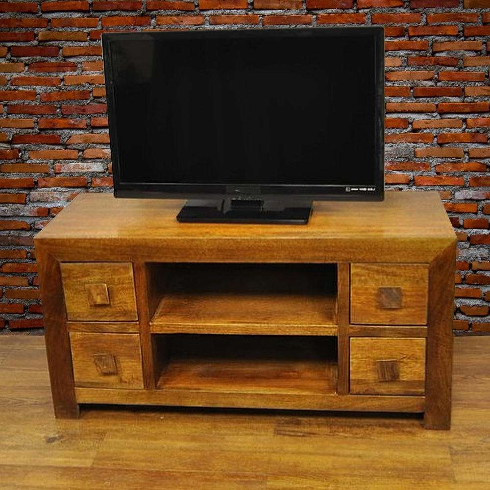 Y Decor Revere Brown Mango Wood Tv Stand Aa 156 – The Home Depot Pertaining To Mango Wood Tv Cabinets (View 19 of 20)