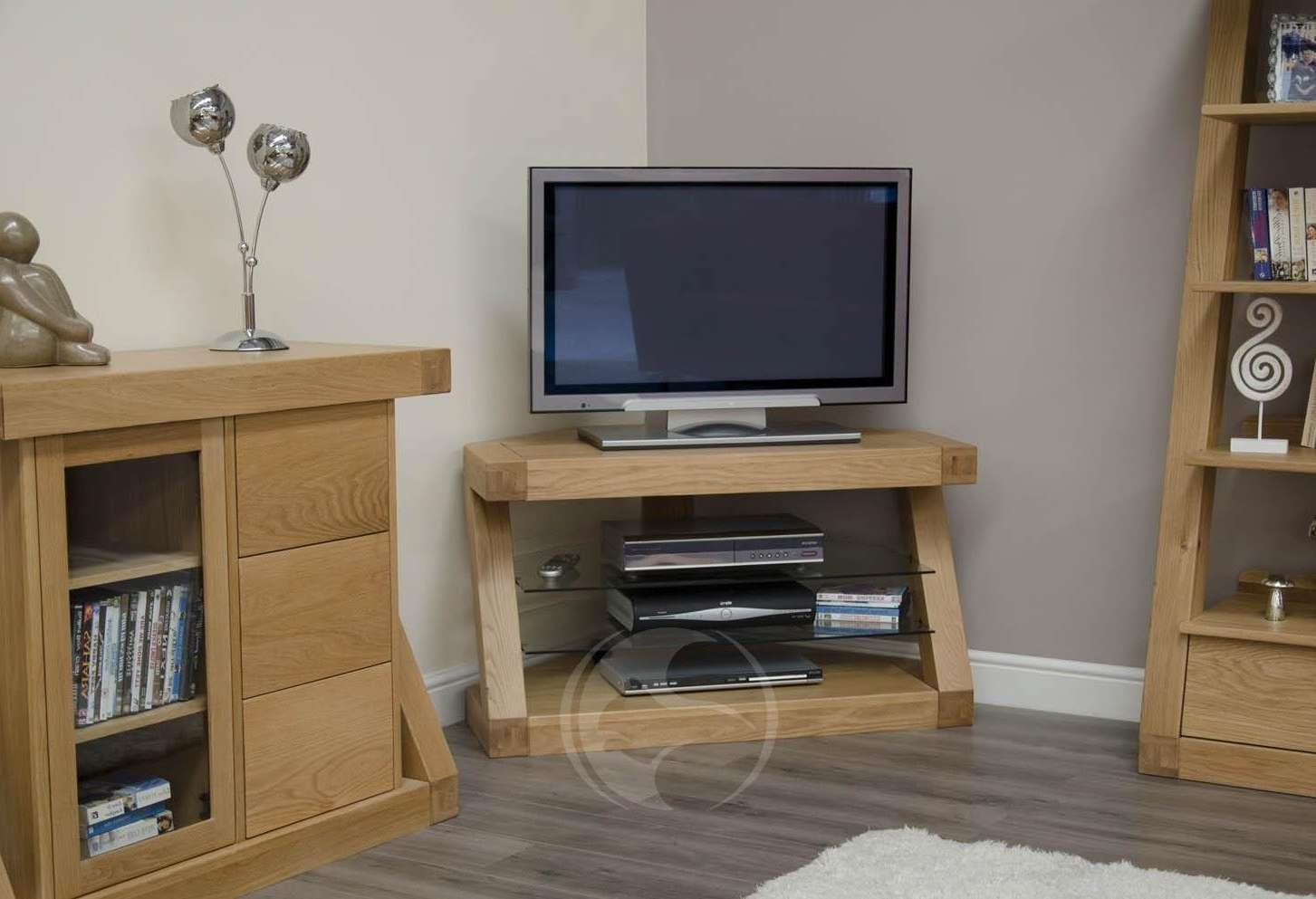 Z Shape Solid Oak Corner Tv Unit | Oak Furniture Uk In Wood Corner Tv Cabinets (View 20 of 20)