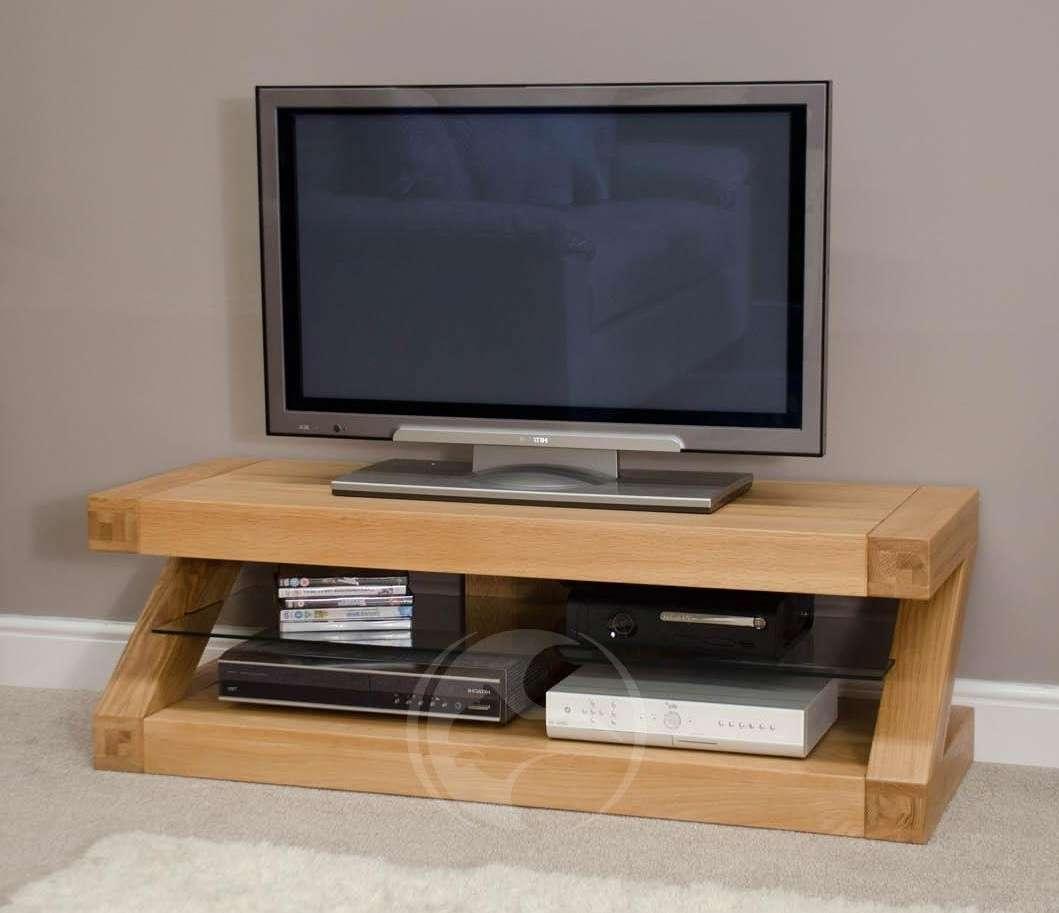 Z Shape Solid Oak Plasma Tv Unit   Oak Furniture Uk For Oak Tv Stands (View 3 of 15)