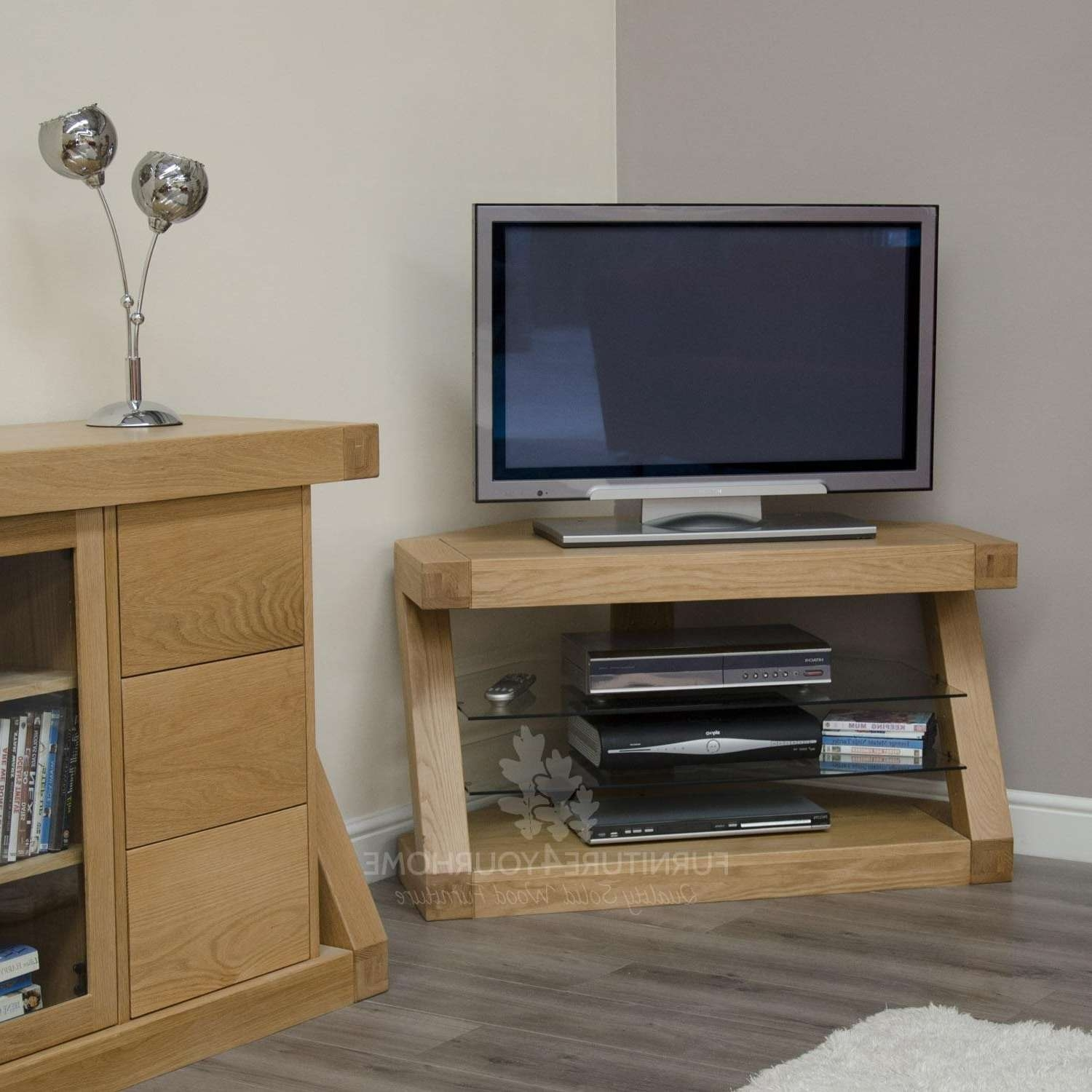 Z Solid Oak Designer Corner Tv Unit | Furniture4Yourhome Throughout Contemporary Corner Tv Stands (View 15 of 15)