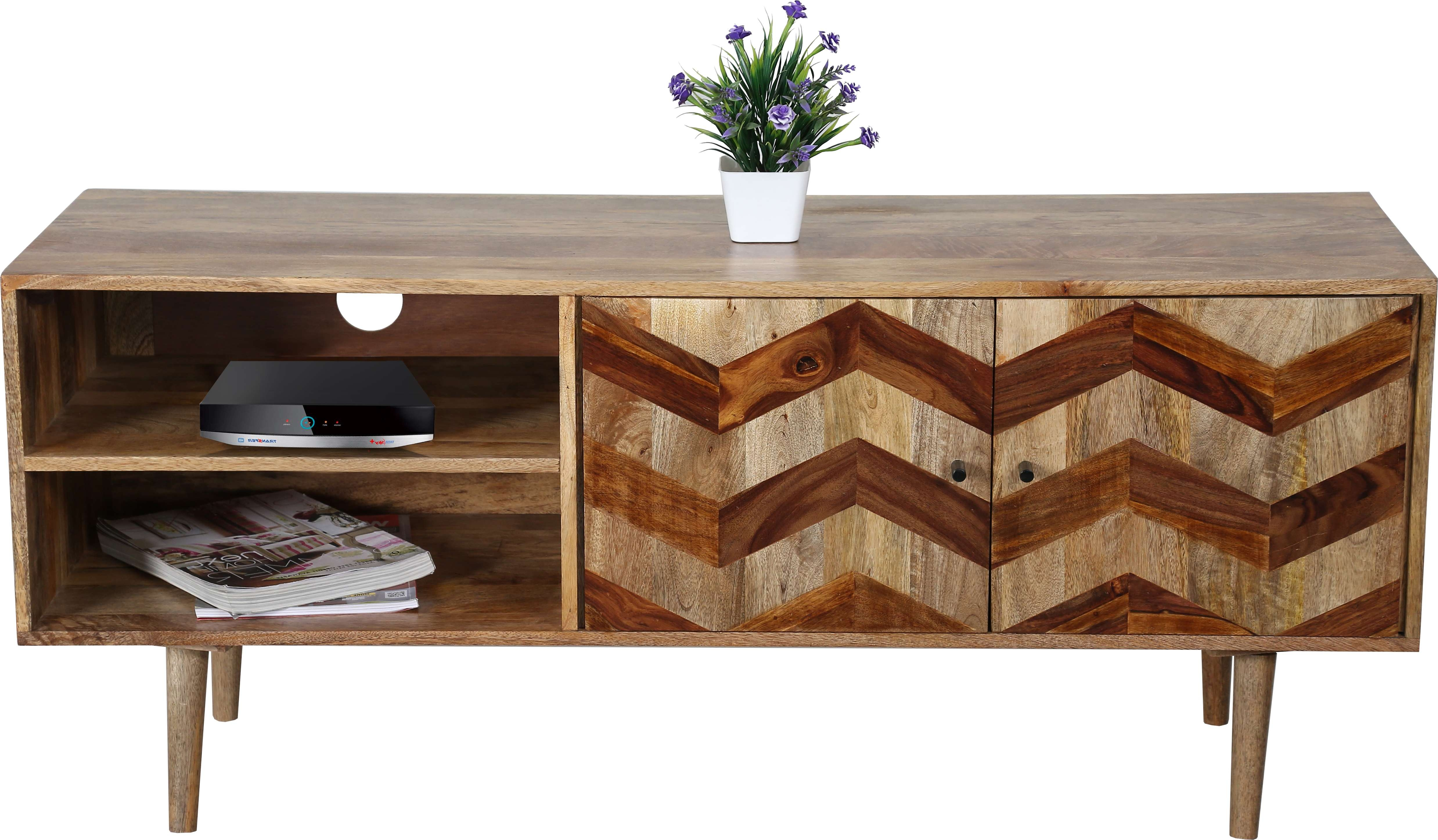 Zigzag Themed Tv Cabinet In Light Mango Wood With Wooden Legs Within Mango Wood Tv Cabinets (View 10 of 20)