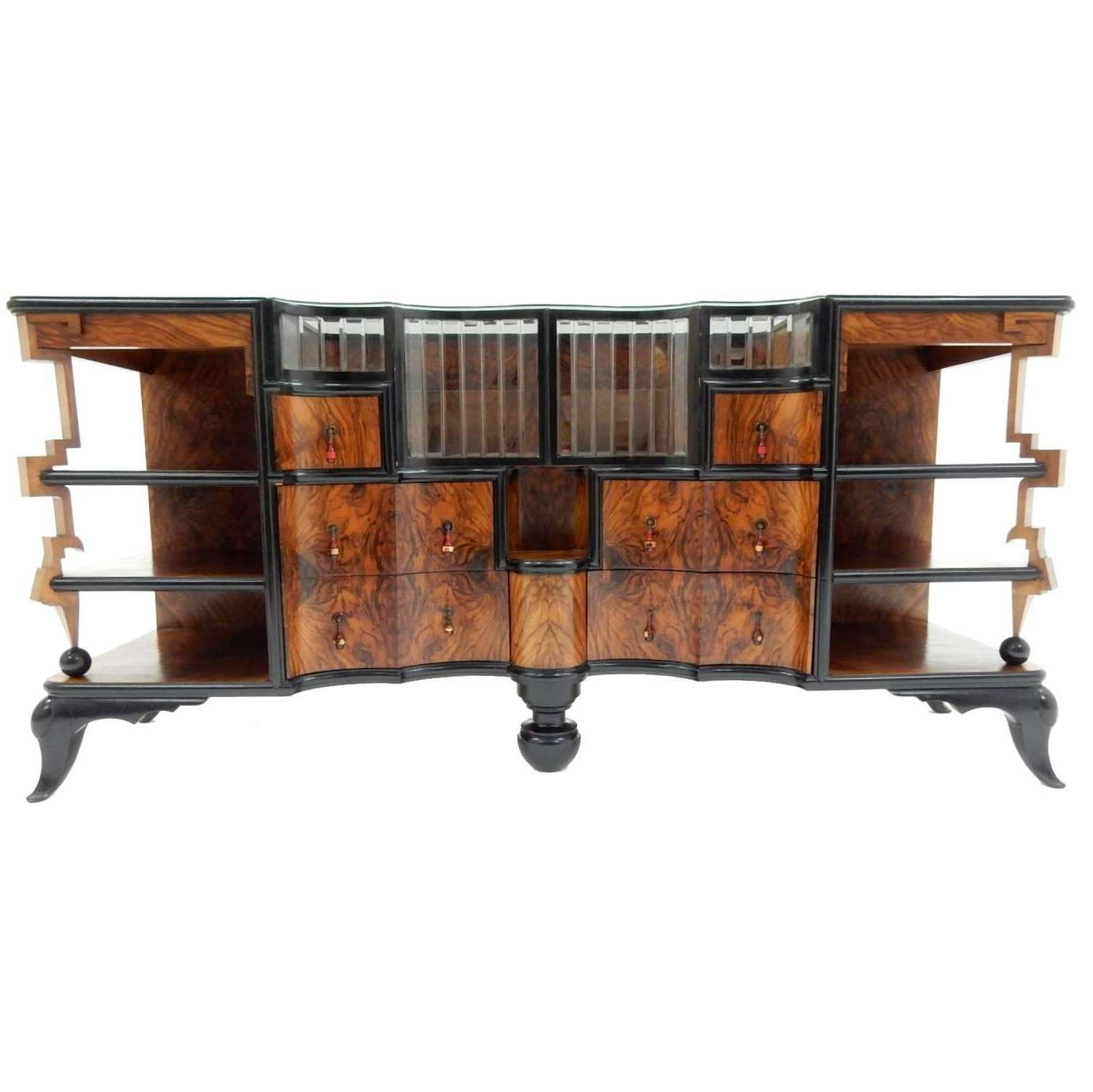 1920s 1930s Art Deco Burl Wood Dry Bar Sideboard Cabinet For Sale In Sideboards Bar Cabinet (View 9 of 20)
