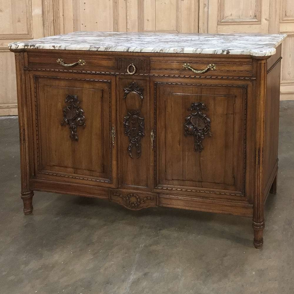 19Th Century French Walnut Louis Xvi Marble Top Buffet – Inessa Throughout Marble Top Sideboards (View 2 of 20)