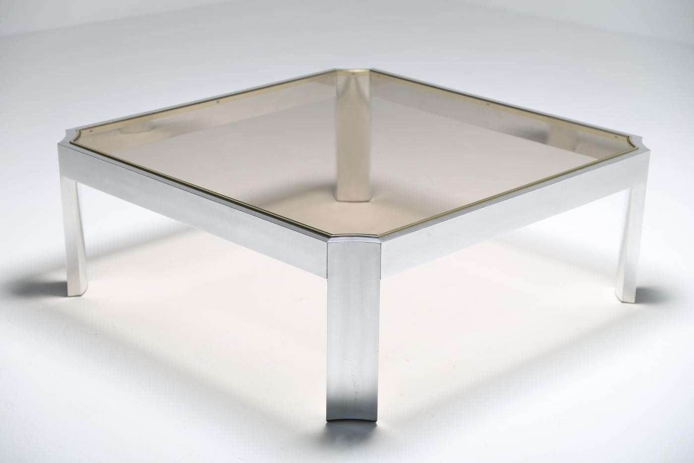 2017 Aluminium Coffee Tables Regarding Mid Century Glass Coffee Table With Aluminium Base For Sale At Pamono (View 7 of 20)