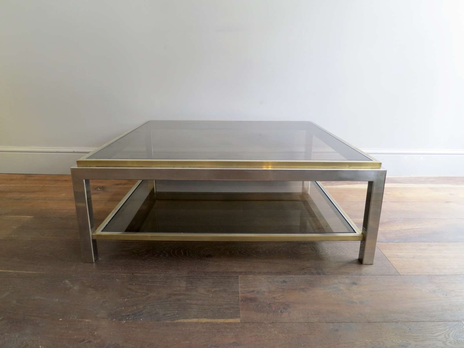 2017 Antique Brass Glass Coffee Tables Within Two Tier Glass Coffee Table Tags : Marvelous Glass And Brass (View 2 of 20)