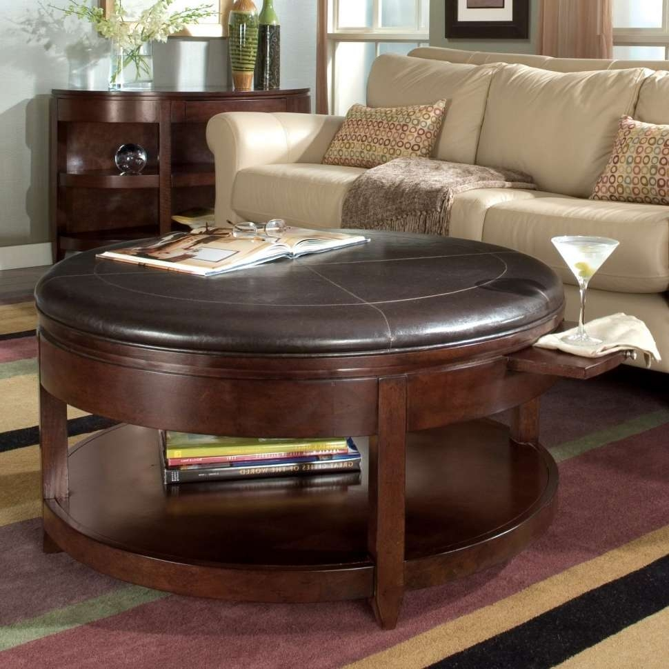 2017 Brown Leather Ottoman Coffee Tables Intended For Interior : Round Brown Leather Ottoman Coffee Table With Round (View 1 of 20)