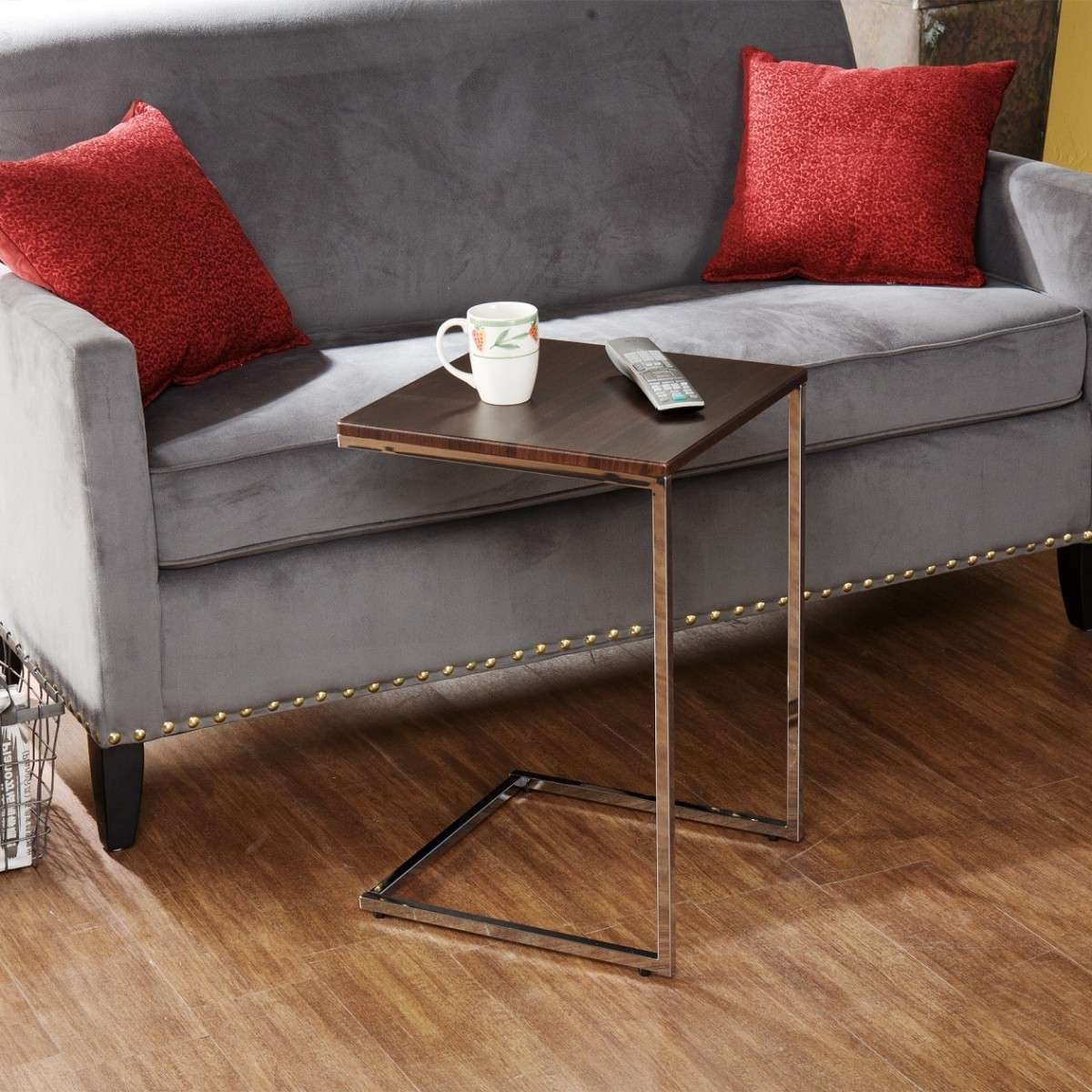 2017 C Coffee Tables For Modern C Coffee Table Tv Tray With Metal Stand And Wooden Top Ideas (View 1 of 20)